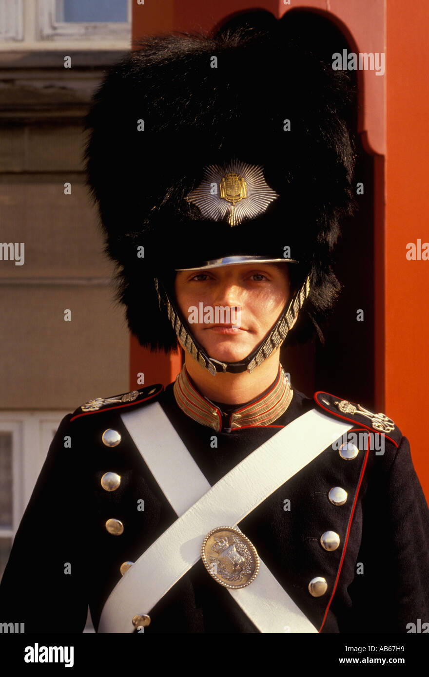 Danish Royal Guard, standing on guard, on guard, sentry, wearing bear fur hat, Amalienborg Palace Copenhagen Denmark Europe - Stock Image