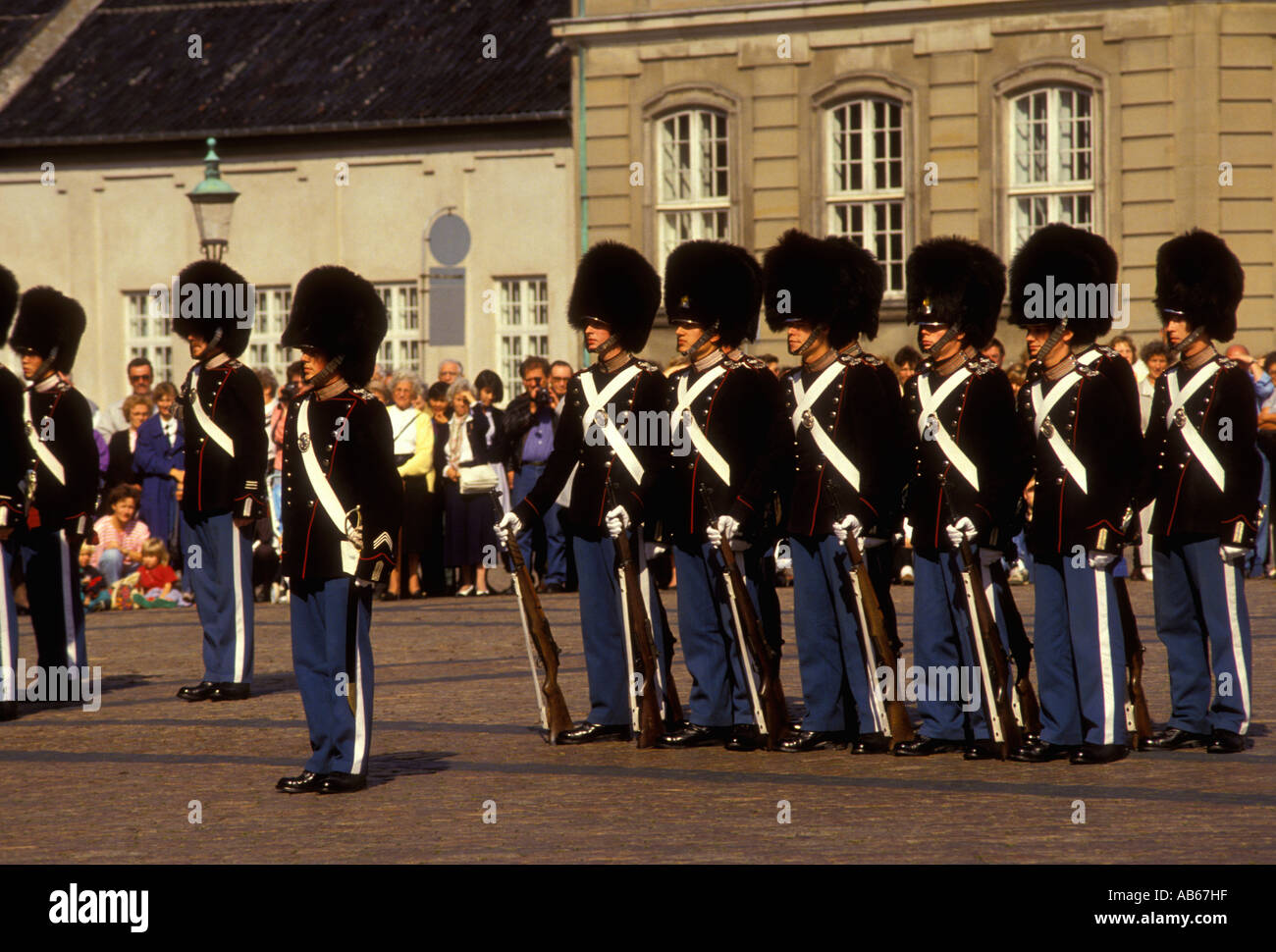 Danish Royal Guard guards at Amalienborg Palace Amalienborg Palace Square Copenhagen Denmark Europe - Stock Image