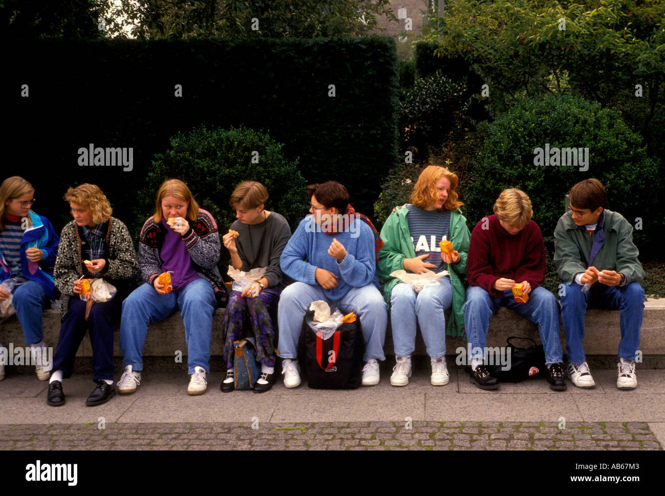 Students on a field trip Copenhagen Denmark Europe - Stock Image