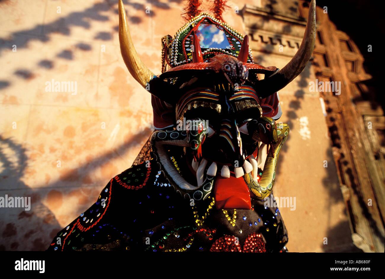 Los Pastorales devil mask in erongaricuaro mexico - Stock Image