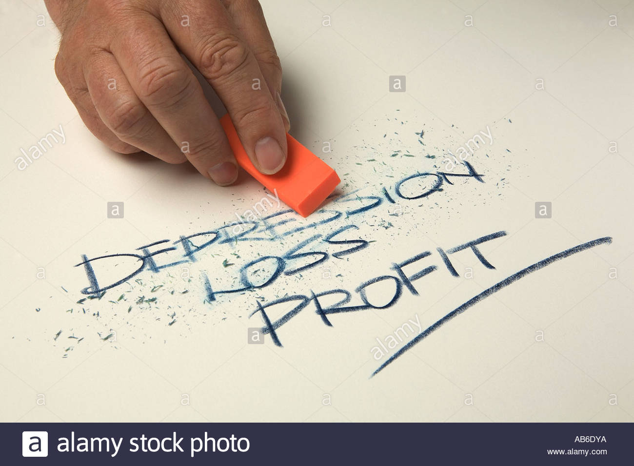 Mans hand holding an orange eraser and rubbing out the words  depression and loss. - Stock Image