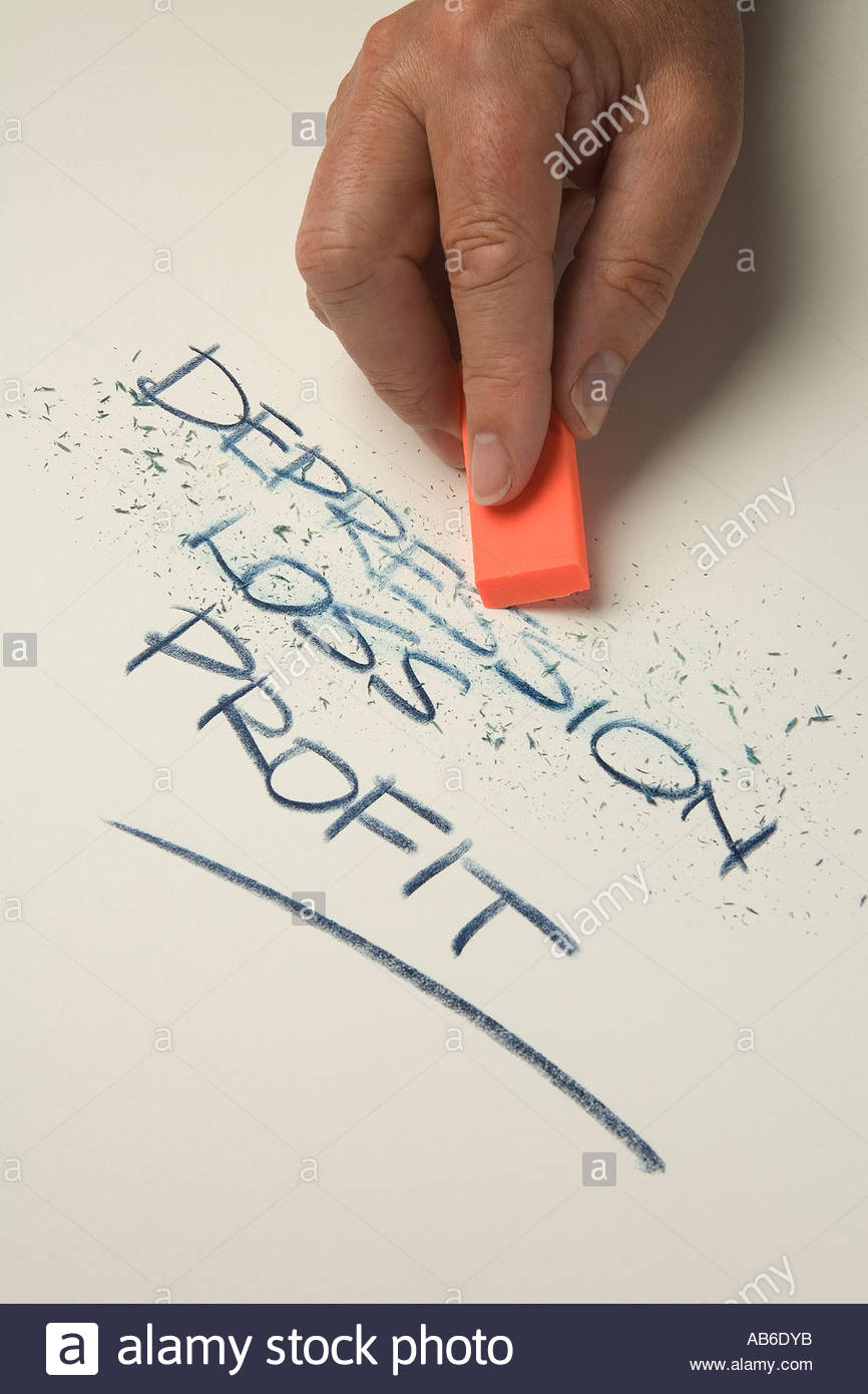 Mans hand holding an orange eraser and rubbing out the words depression, loss. - Stock Image