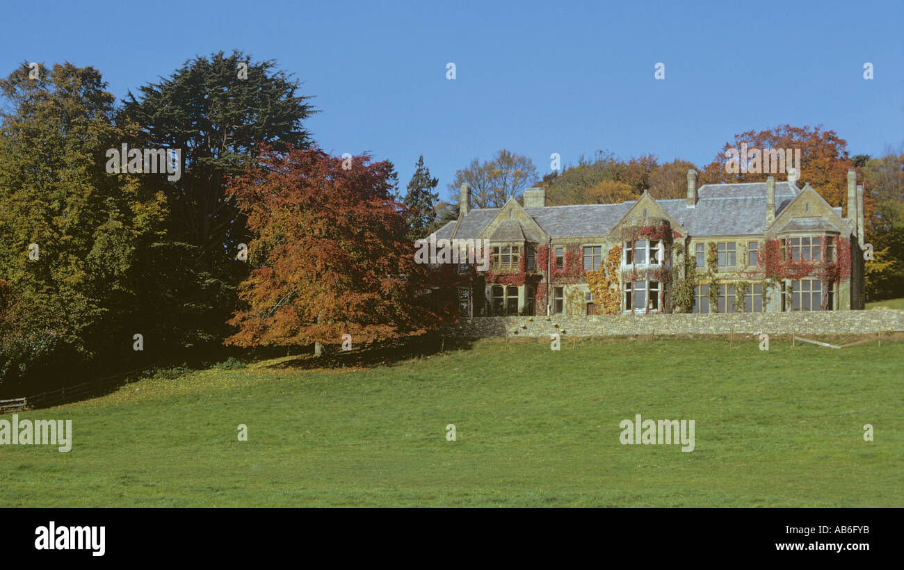 Copse Hill House Elizabethan Manor House above the Cotswolds village of Lower Slaughter Gloucestershire - Stock Image