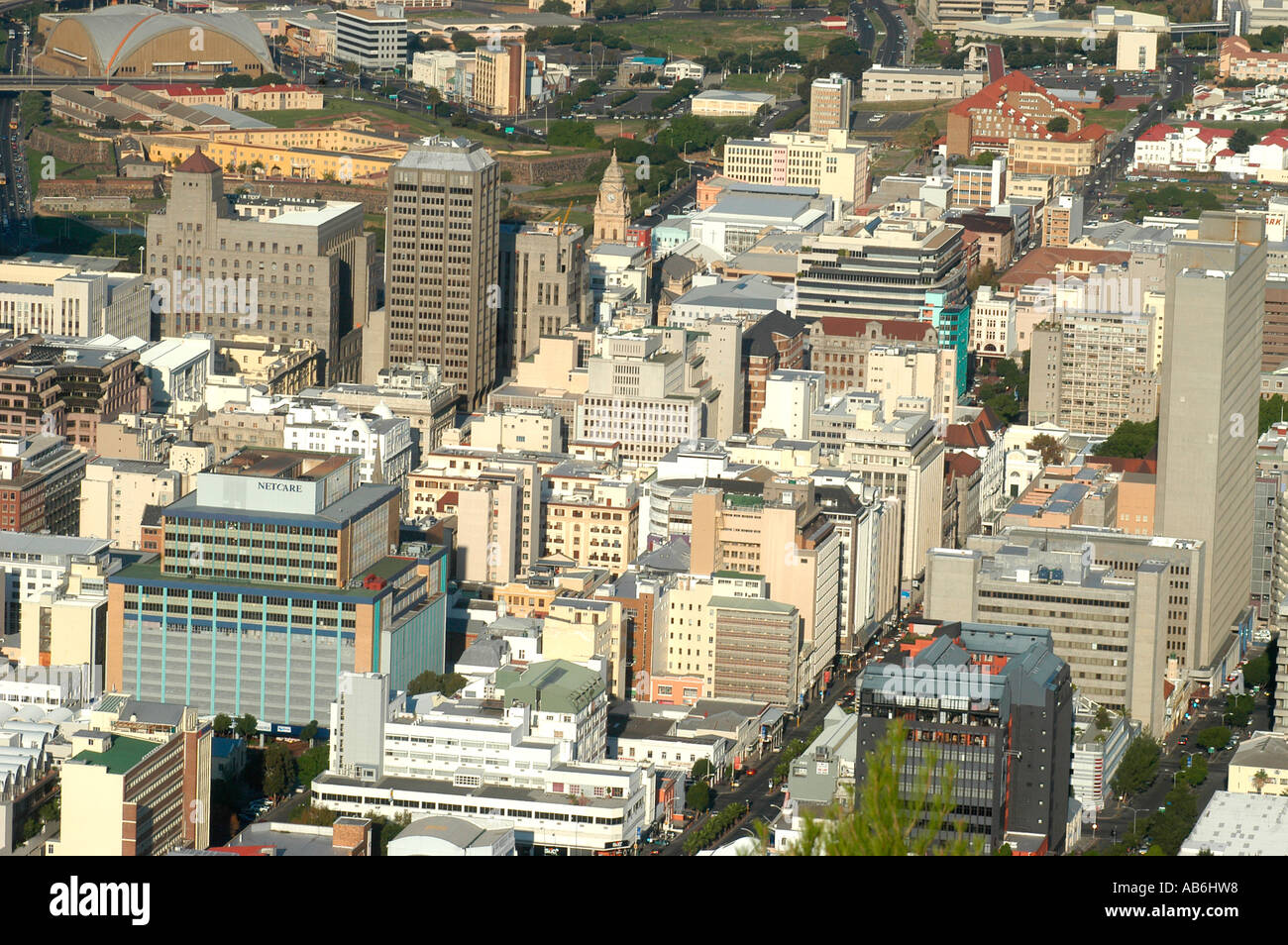 Aerial view of Cape Town, business center, South Africa - Stock Image