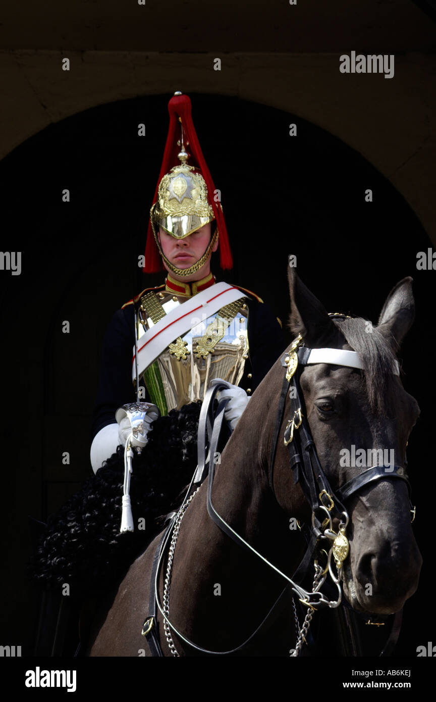 British soldier of the Blues and Royals regiment mounted on horseback - Stock Image