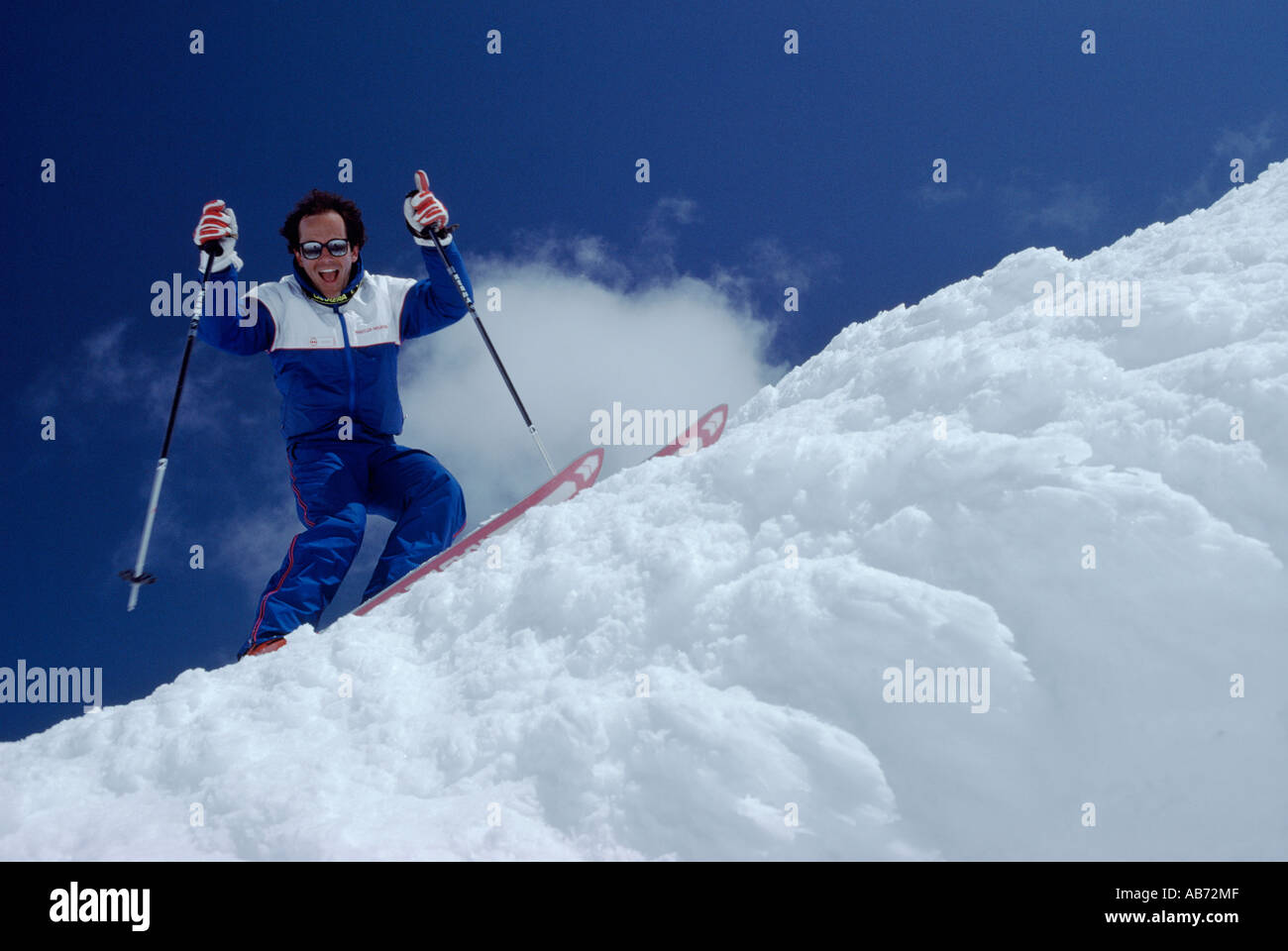 Downhill Skiing on Whistler Mountain Whistler British Columbia Canada - Stock Image