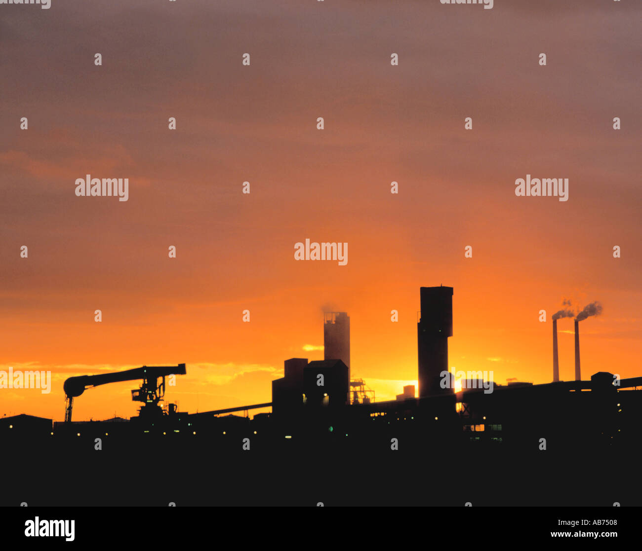 Chemical works at sunset; Part of the chemical complex at Billingham, Teesside, Cleveland, England, UK. - Stock Image