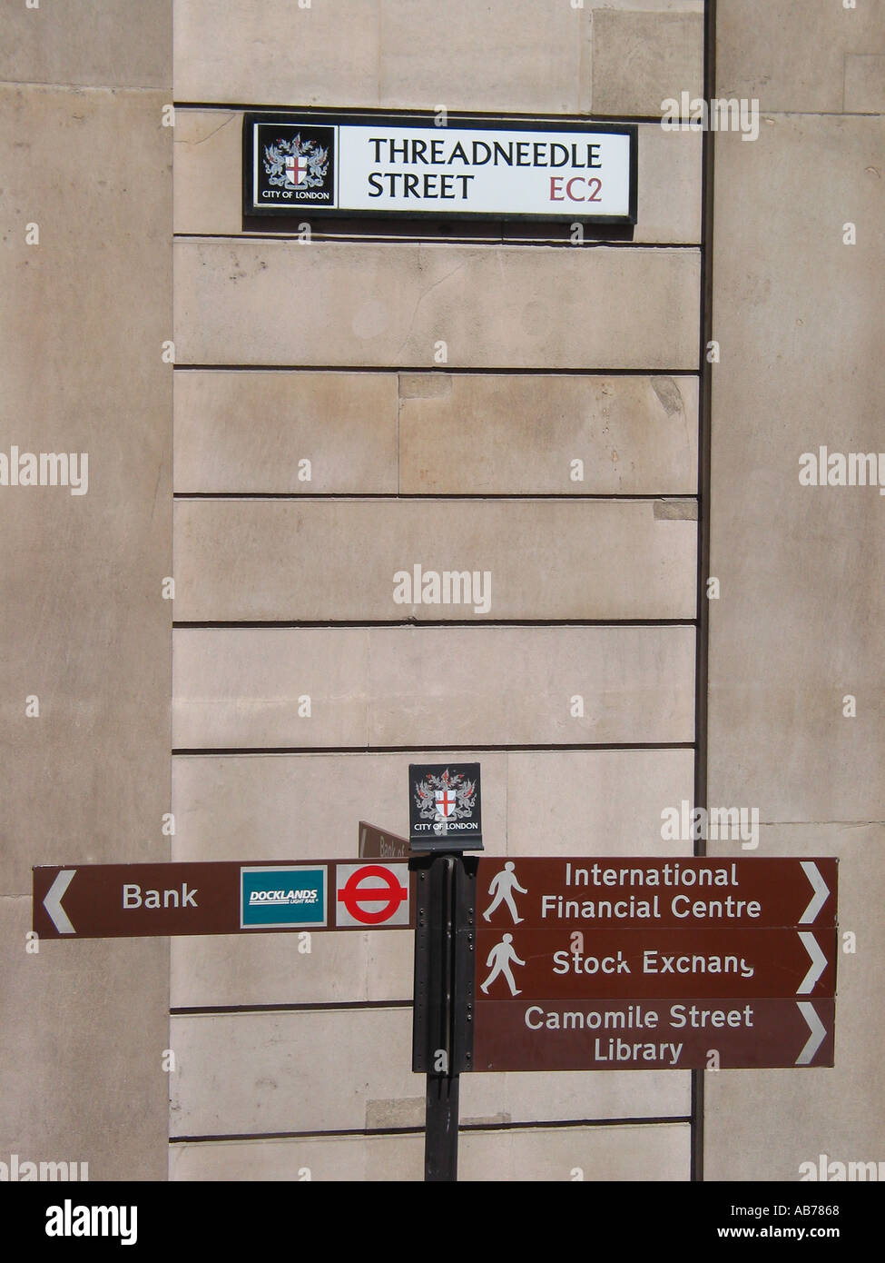 Banking Area Street Sign Bank of England Threadneedle Street EC2 City of London Street Sign London GB - Stock Image