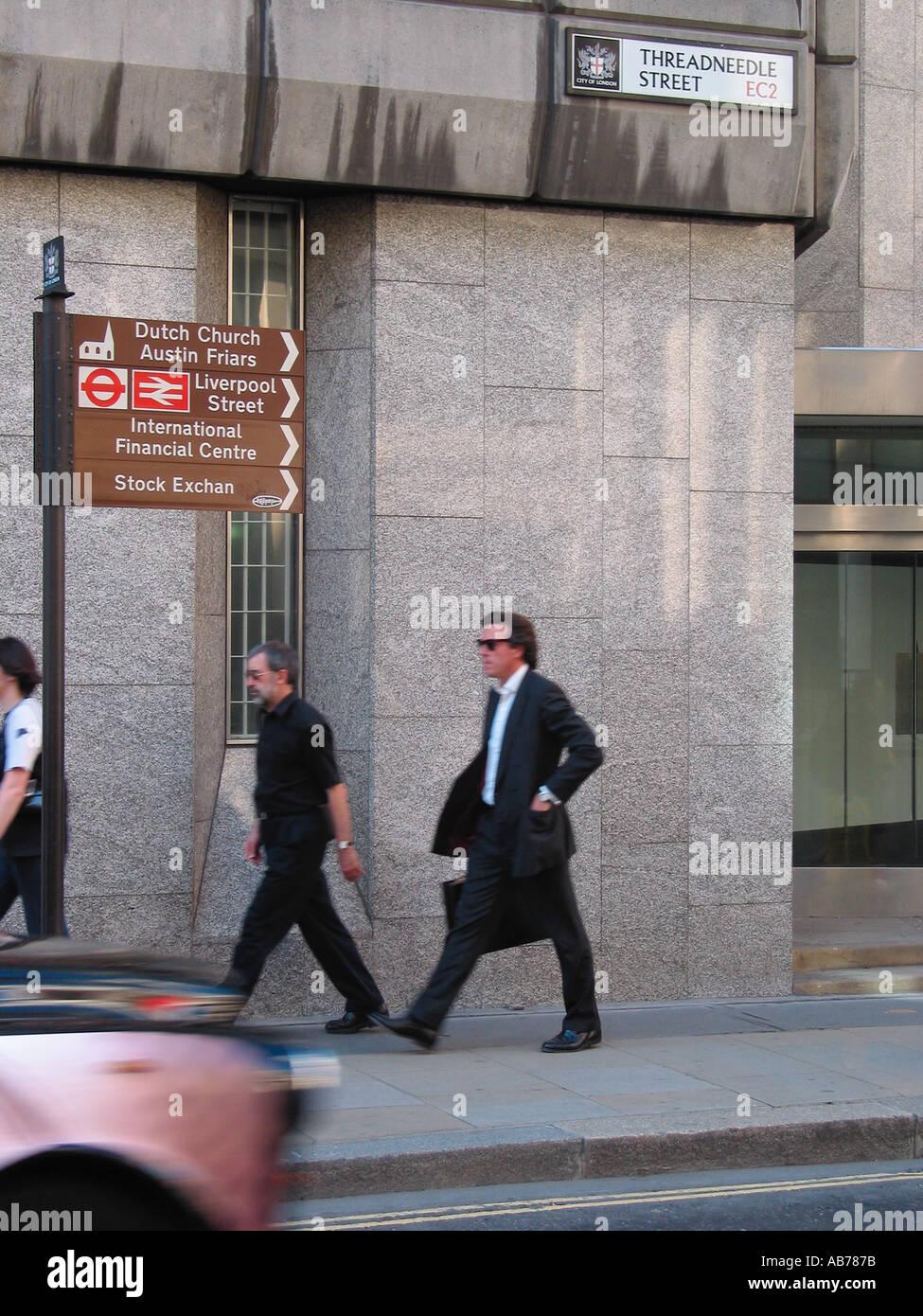 City Workers Banking Area Threadneedle Street EC2 City of London Street Sign London GB - Stock Image