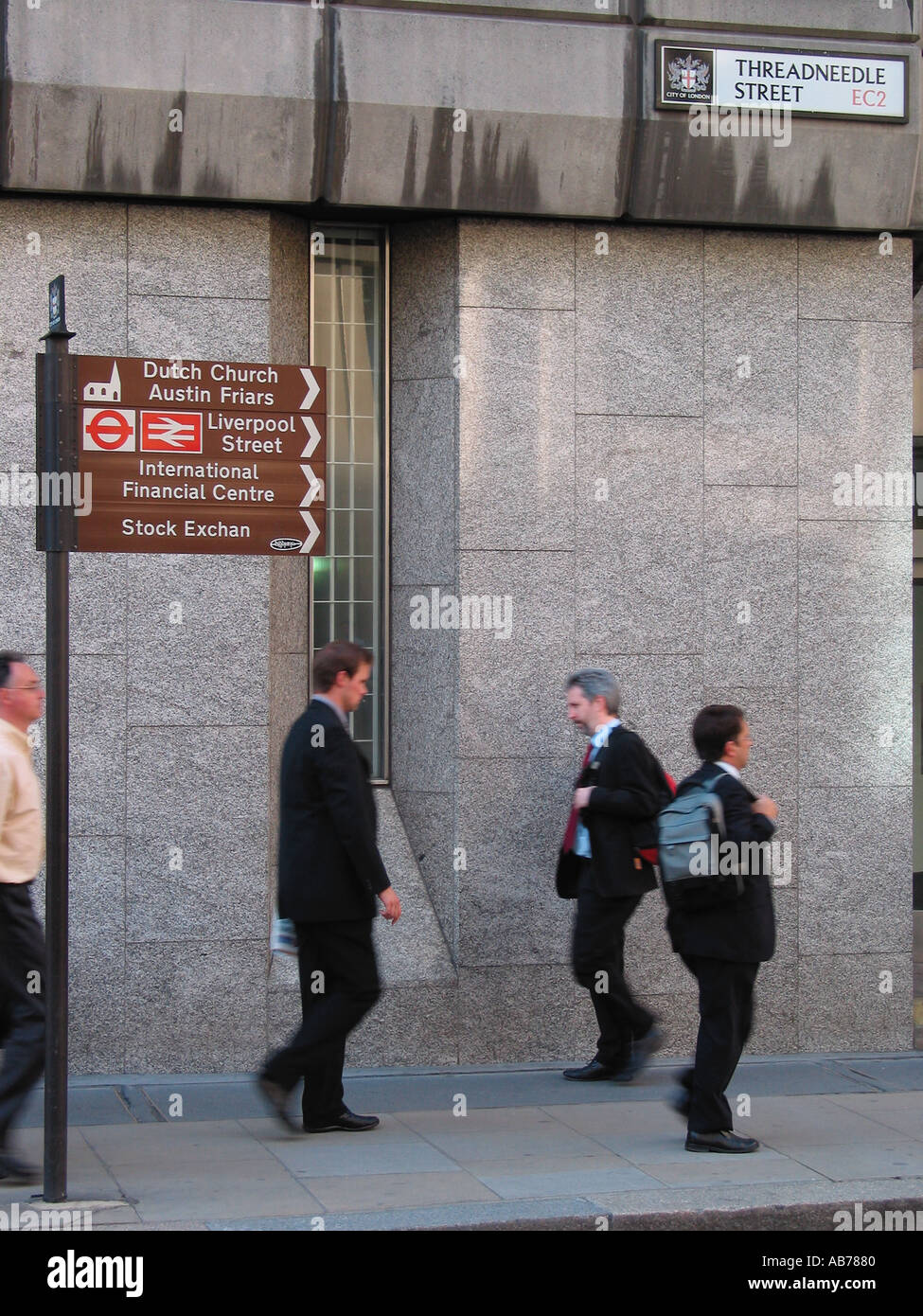 City Workers Banking Area Stock Exchange and Bank of England Area Threadneedle Street EC2 City of London Street Sign London GB - Stock Image