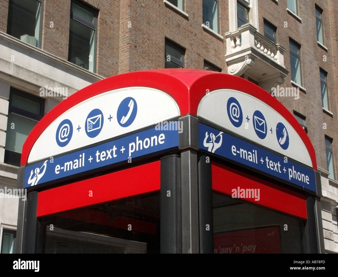 Holborn Greater London phone boxes offering email and text service in addition to conventional telephone facilities - Stock Image