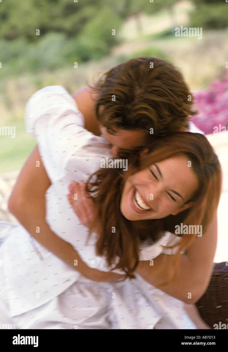 Couple in pyjamas - Stock Image