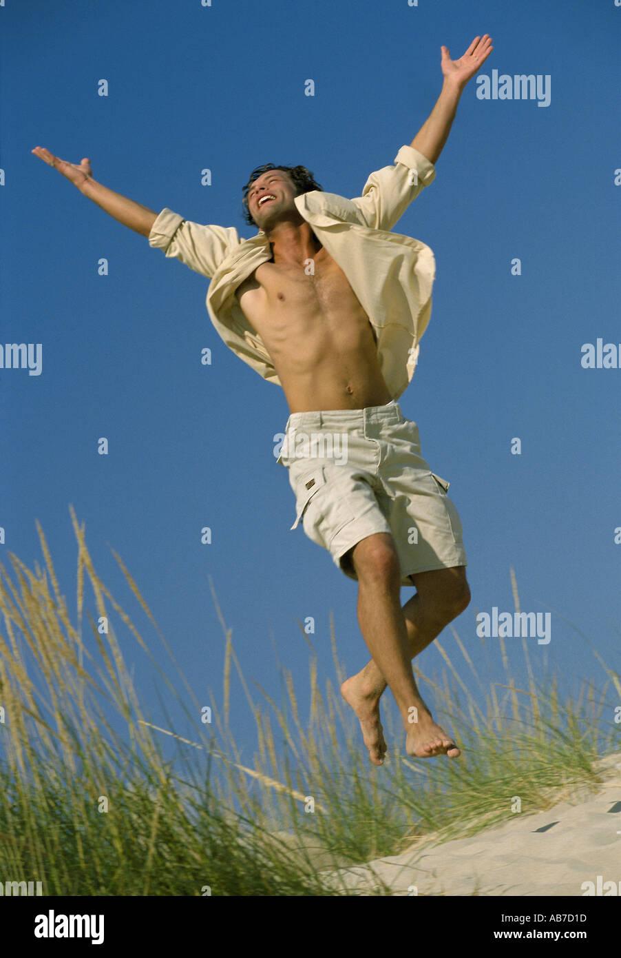 Man rejoicing - Stock Image