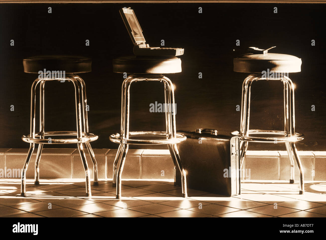 Fantastic Laptop Cell Phone And Briefcase With Metal Stools At Cafe Creativecarmelina Interior Chair Design Creativecarmelinacom