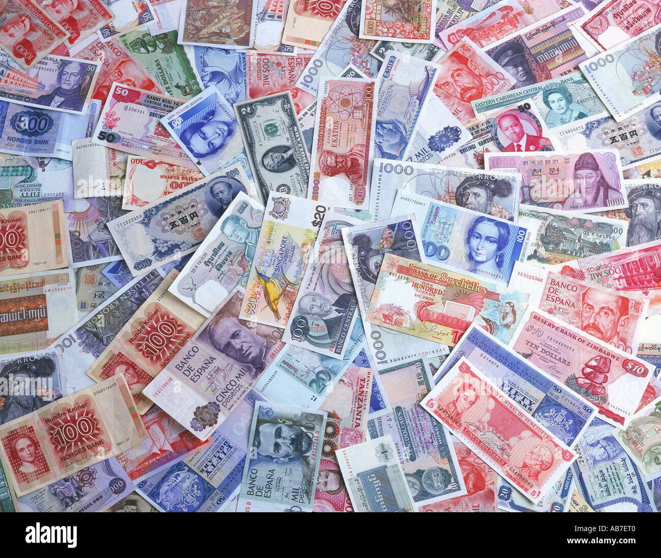 Collection of banknotes from variety of countries - Stock Image