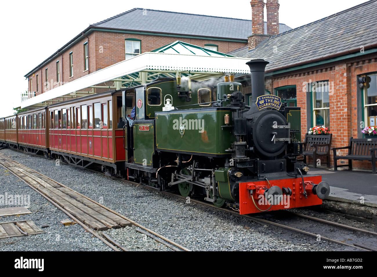The Quarryman train at Tywyn Station on Talyllyn Narrow gauge railway North Wales - Stock Image