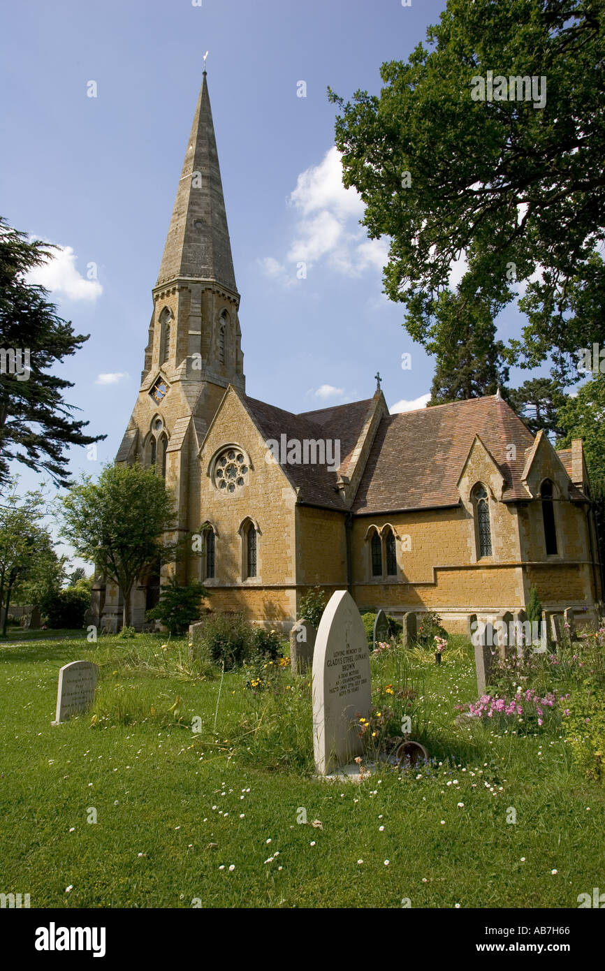 Christ Church Gretton built in 1868 replaces an earlier mediæval church Cotswolds UK - Stock Image