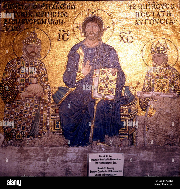 Christ the Ruler byzantine medieval mosaic Hagia Sophia Istanbul Turkey - Stock Image