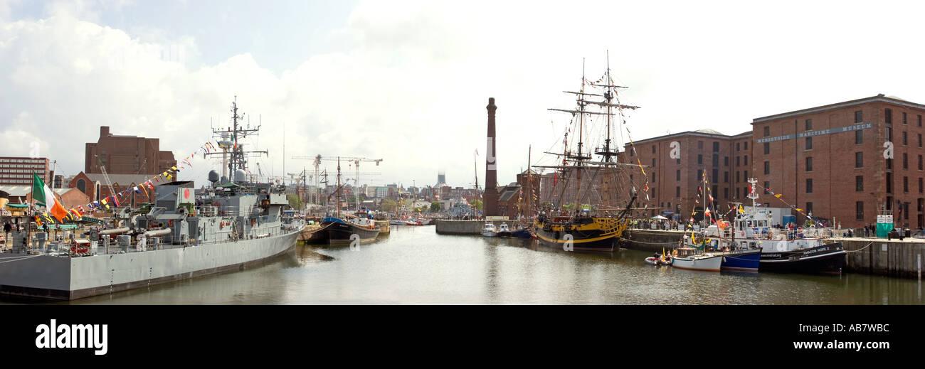 Merseyside Liverpool Mersey River Festival La Ciara Coastal Patrol vessel and Grand Turk on Canning Dock panoramic - Stock Image