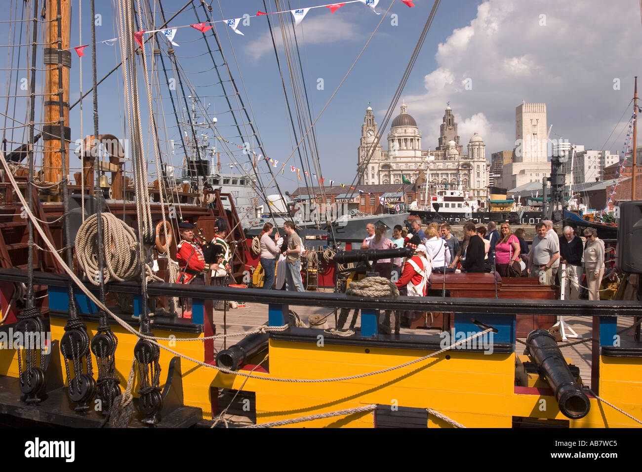 Merseyside Liverpool Mersey River Festival visitors on deck of the Grand Turk - Stock Image