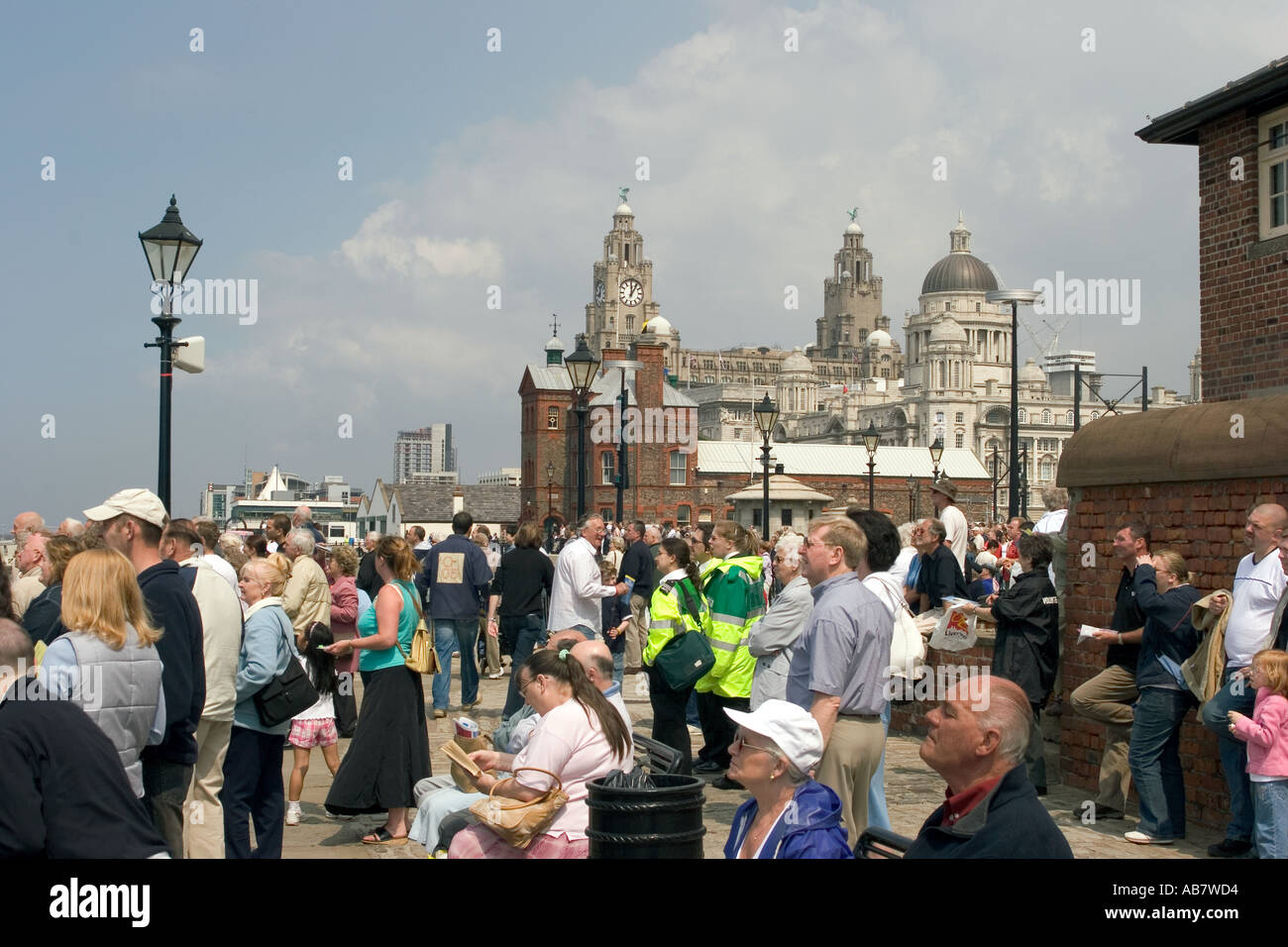 UK Merseyside Liverpool Mersey River Festival visitors on the waterfront - Stock Image