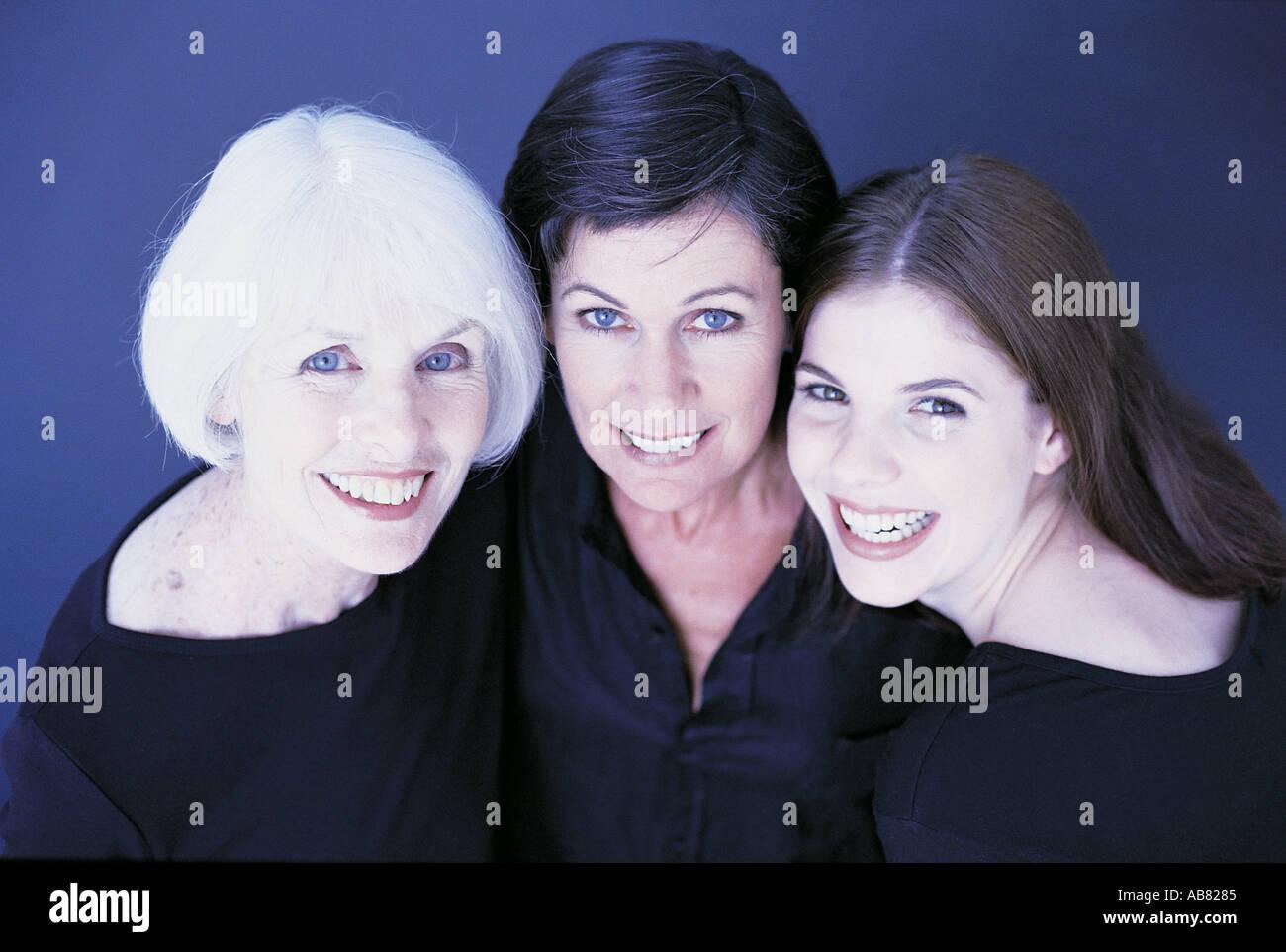 Portrait of three female family members - Stock Image