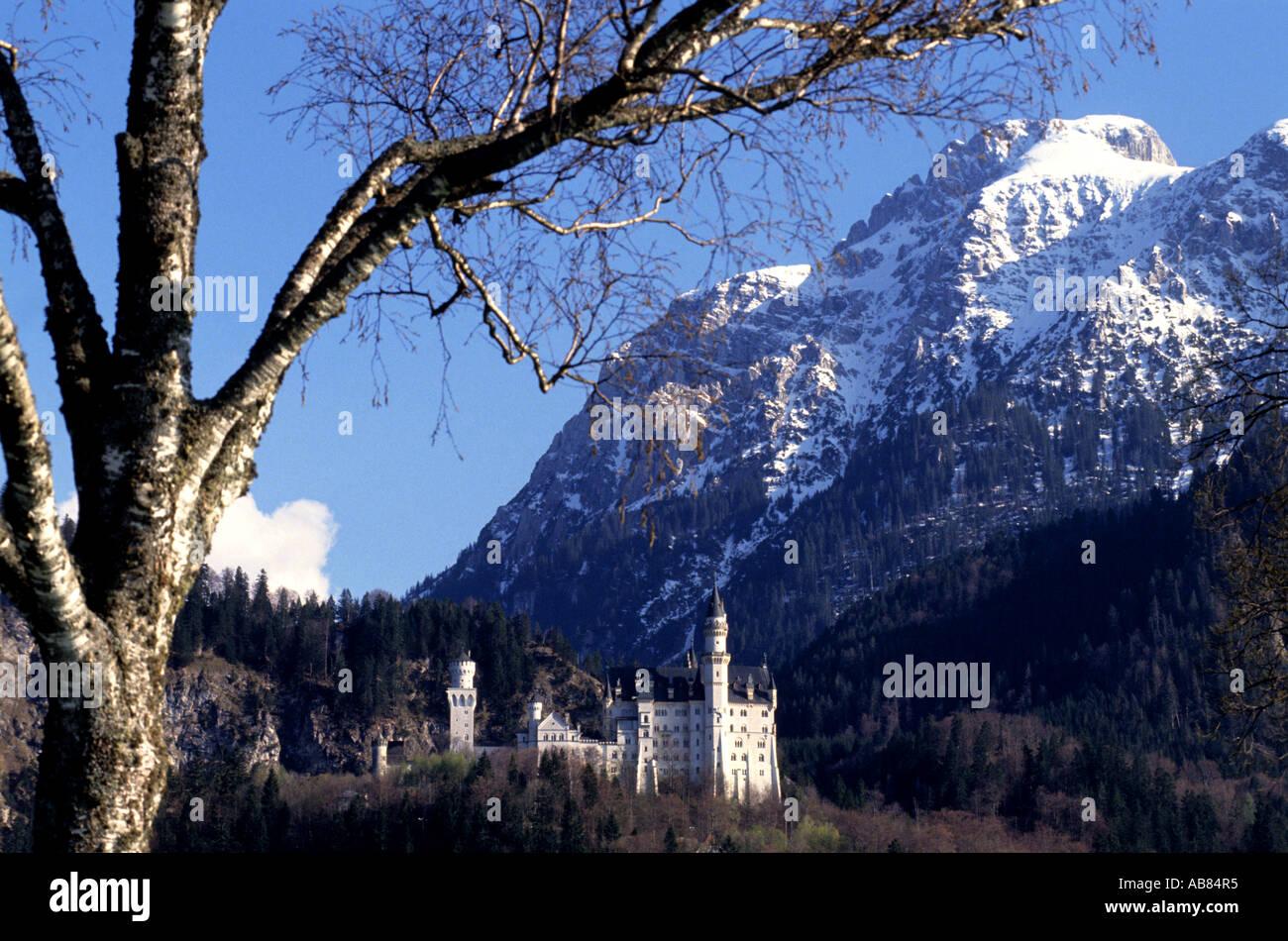 Bavaria, Bayern Neuschwanstein in Schwangau Oberbayern  1869 and 1886 Bavarian King Ludwig II. - Stock Image