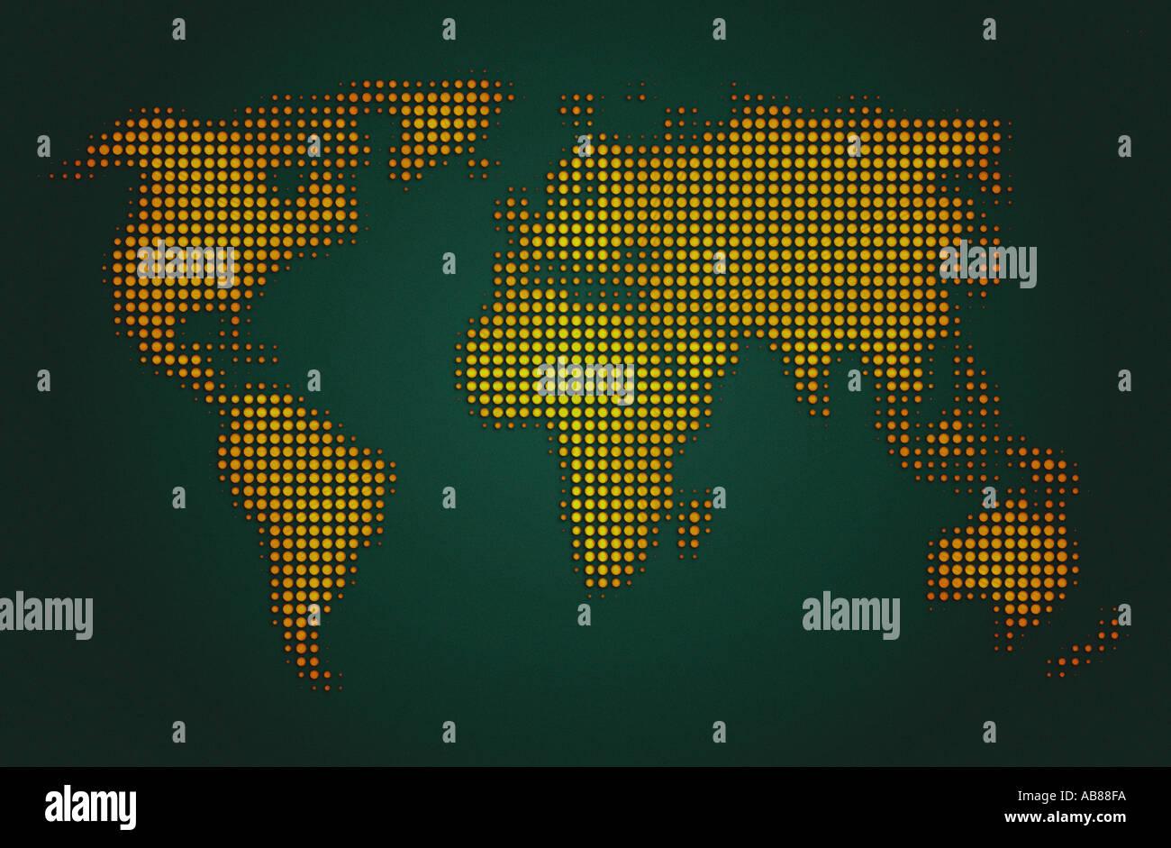 Electronic world map - Stock Image