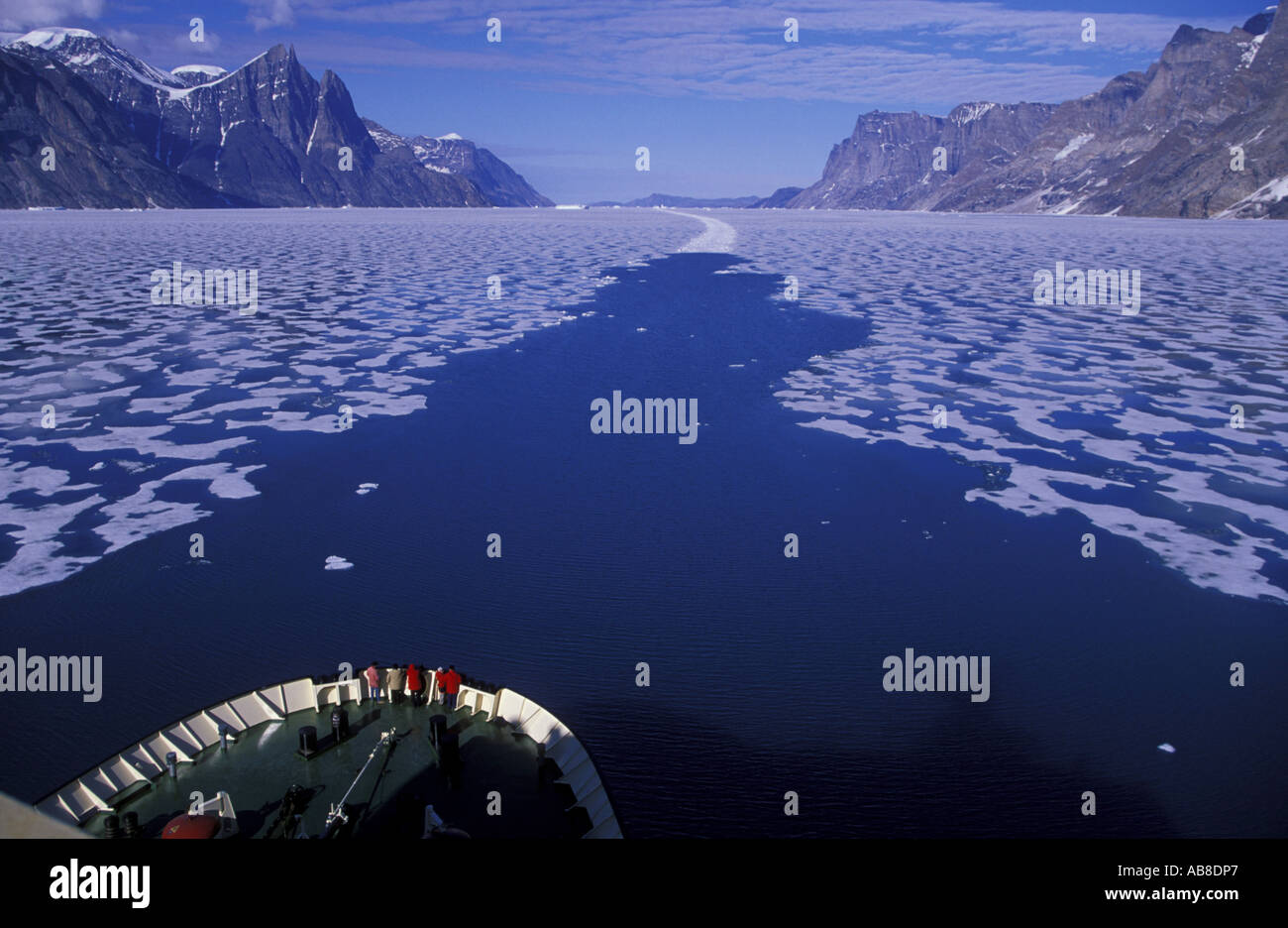 fairway in summer ice of Scoresbysund - Stock Image