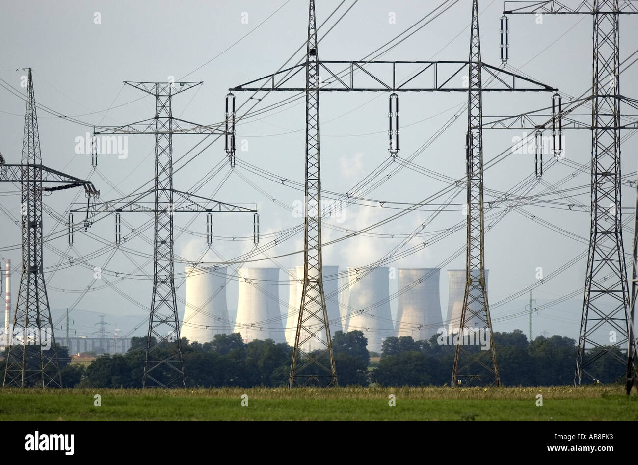 Electrical power plant with cooling towers in the background, Slovakia