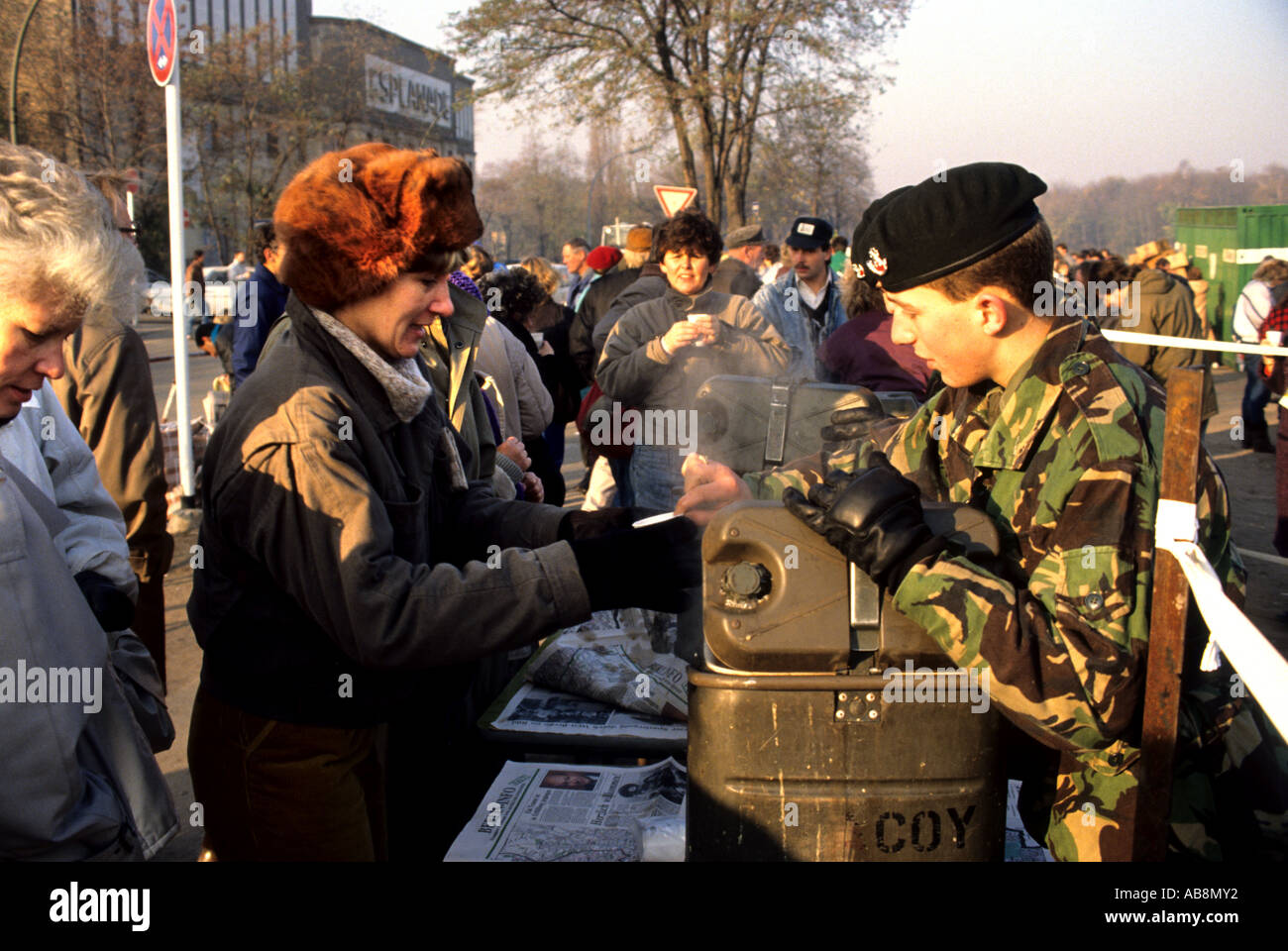 Germany Berlin the Wall Dismantled 1989 people - Stock Image