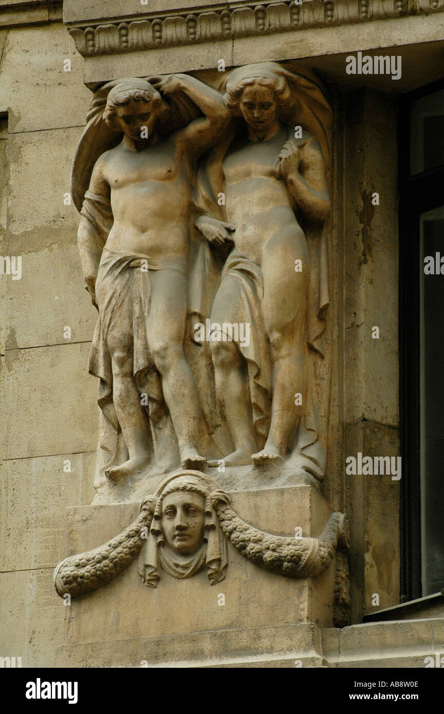 Caryatid sculpted figures in a building around Vaci street in Budapest Hungary - Stock Image