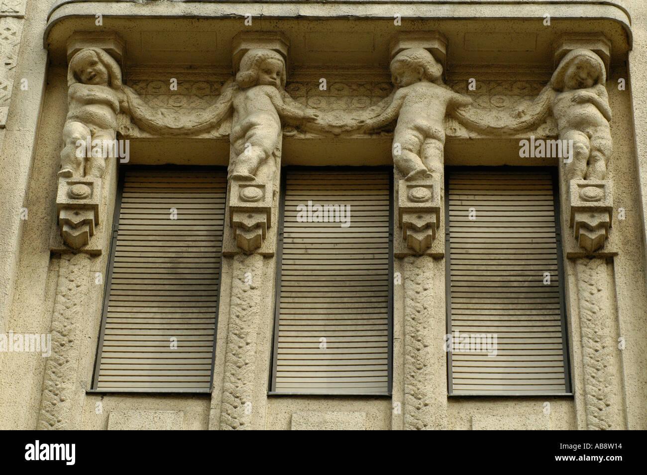 Caryatid around Vaci street Budapest Hungary - Stock Image