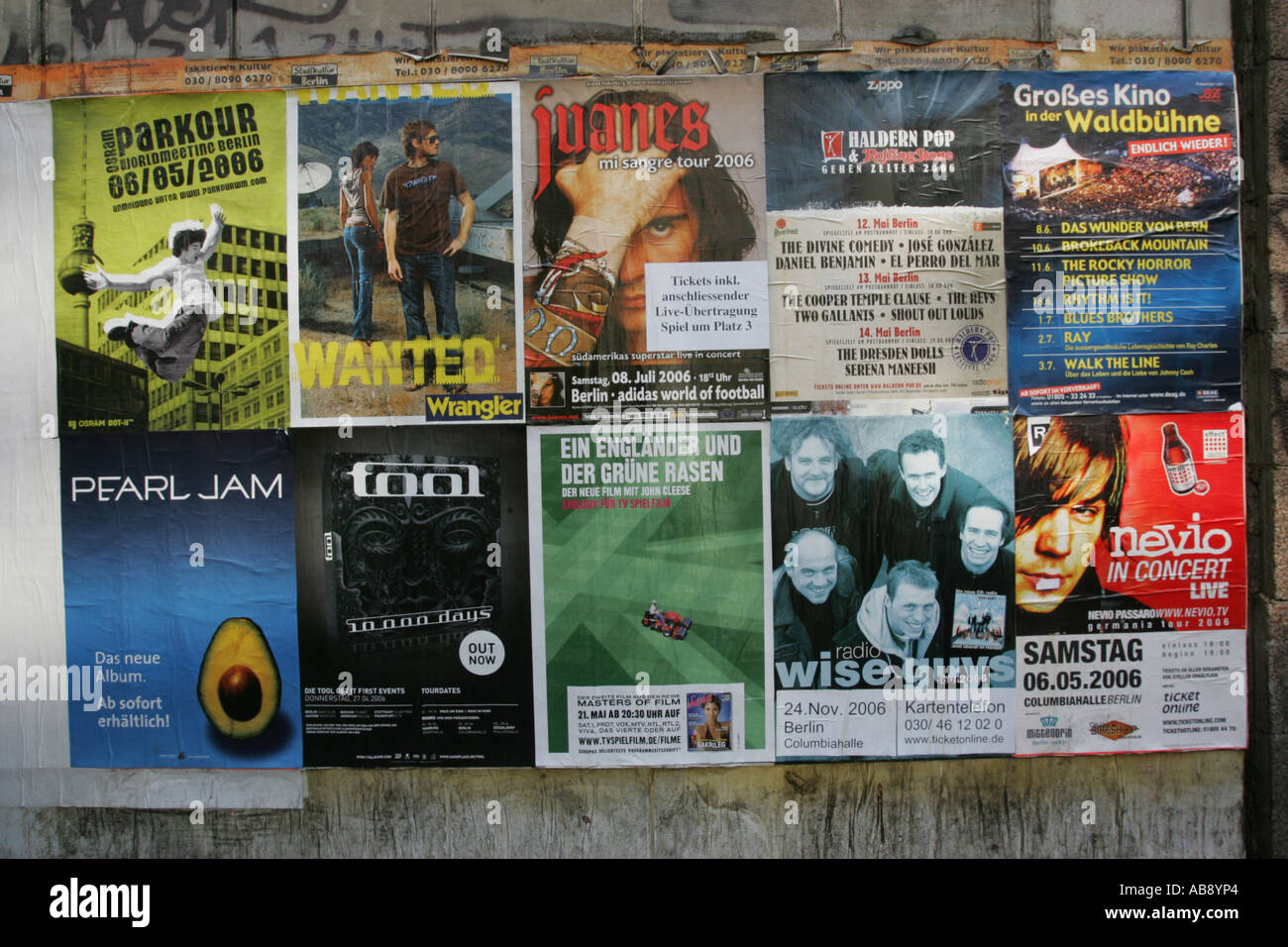 posters on wall advertising music events berlin Stock Photo