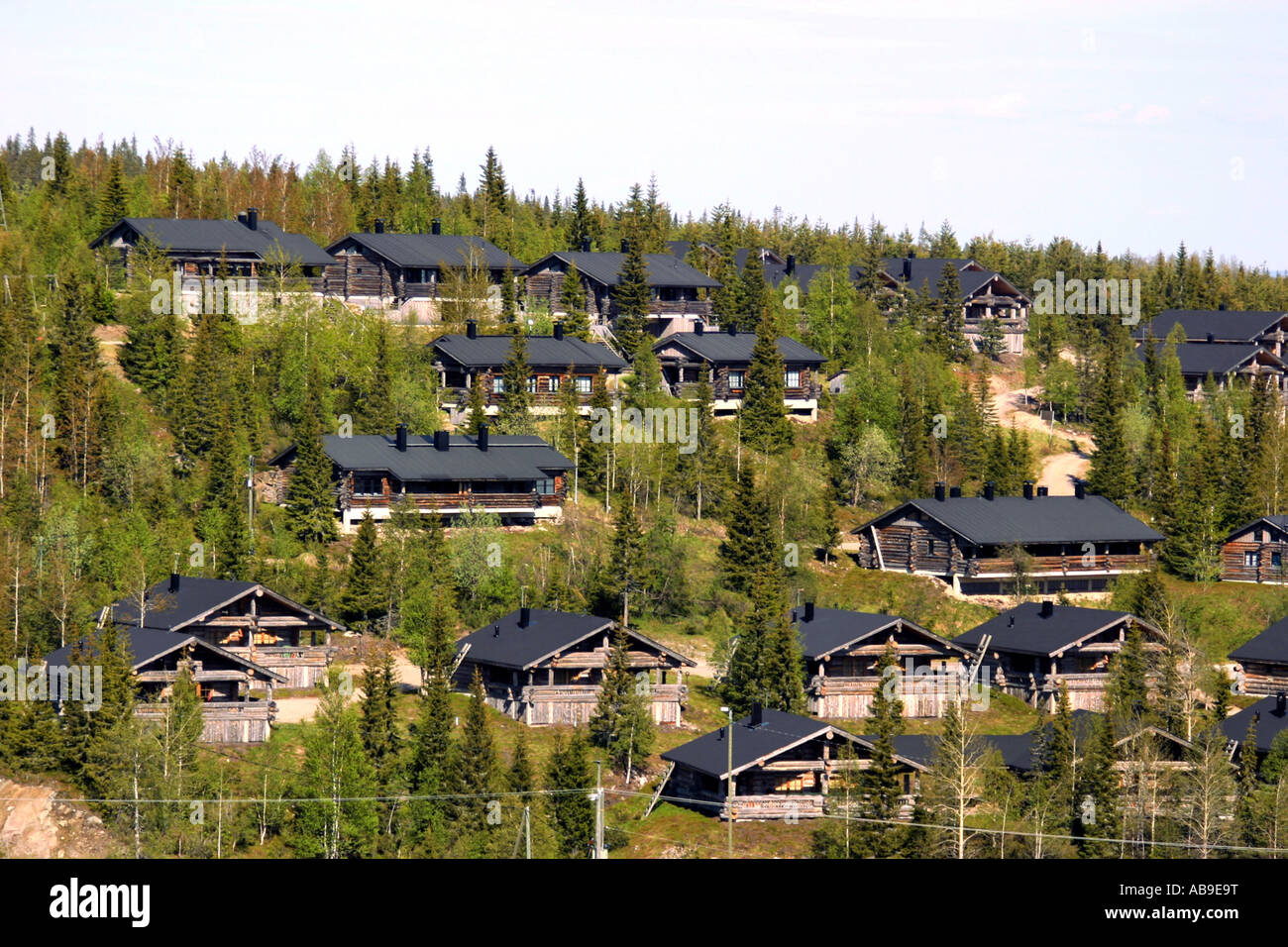 Country cottage village in Ruka, Finland, Oulu - Stock Image