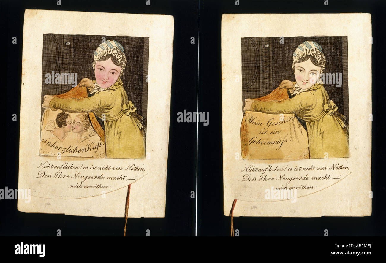 Kitsch Greeting Cards Birthday Card Coloured Engraving South Germany Circa 1820 Additional Rights Clearances NA