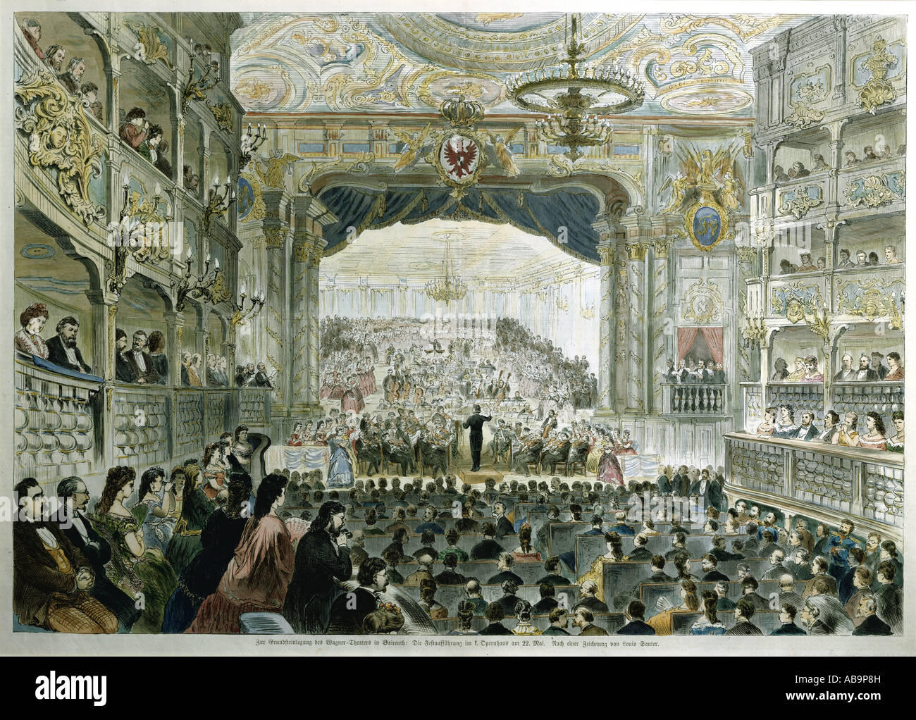 Wagner, Richard  22.5.1813 - 13.2.1883, German composer, conducting beethovenS s 9th symphony, MargraveS s Opera - Stock Image
