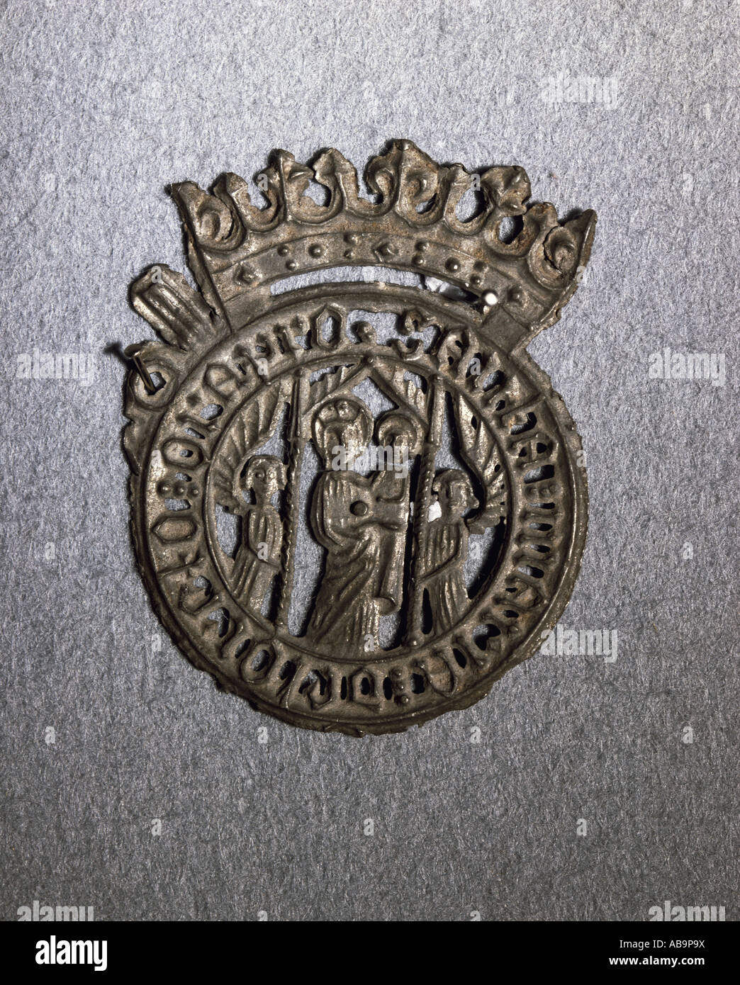 religion, christianity, pilgramage, pilgrimS s badge, Madonna with Child, tin alloy, Loreto, 14th century, private - Stock Image