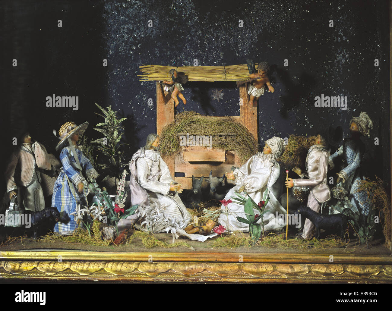 christmas, cribs, 'adoration of the child', South Germany, end 18th century, private collection, Switzerland, - Stock Image