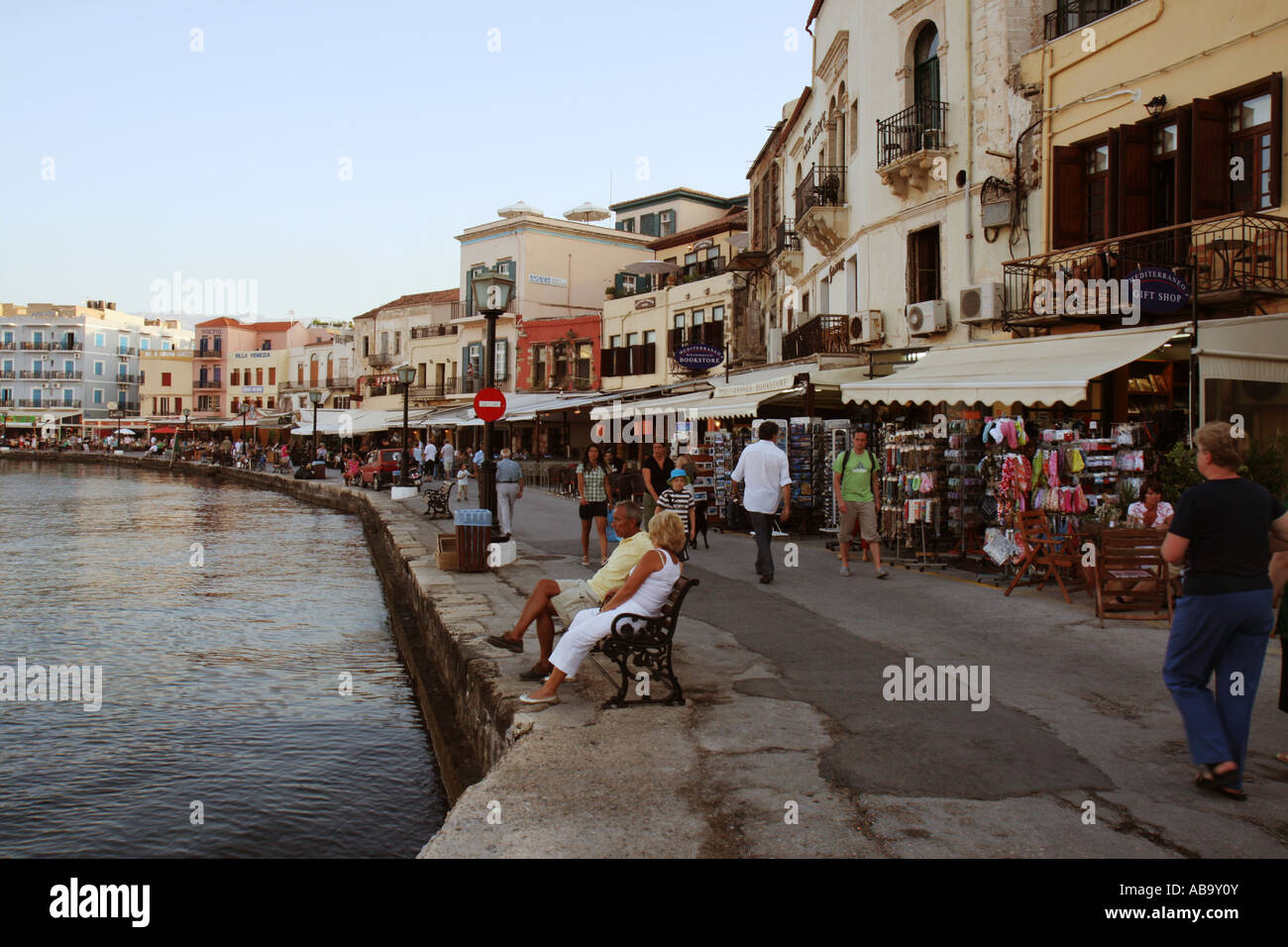 Reataurants and shops at the old Venetian harbour in Chania, Crete, Greece - Stock Image
