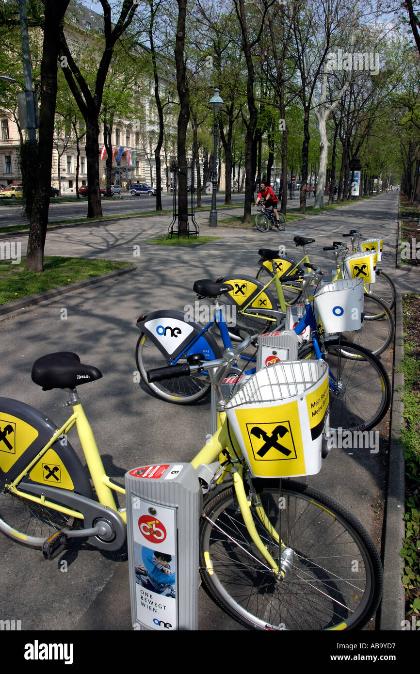 Bicycles for Hire in the Citybike scheme Vienna Austria - Stock Image