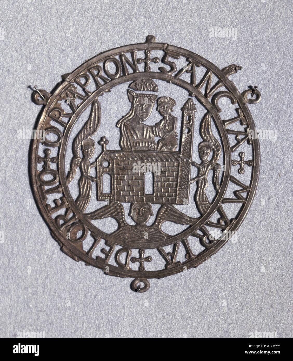 religion, christianity, pilgramage, pilgrimS s badge, Holy House of Nazareth, tin alloy, Loreto, 14th century, private - Stock Image