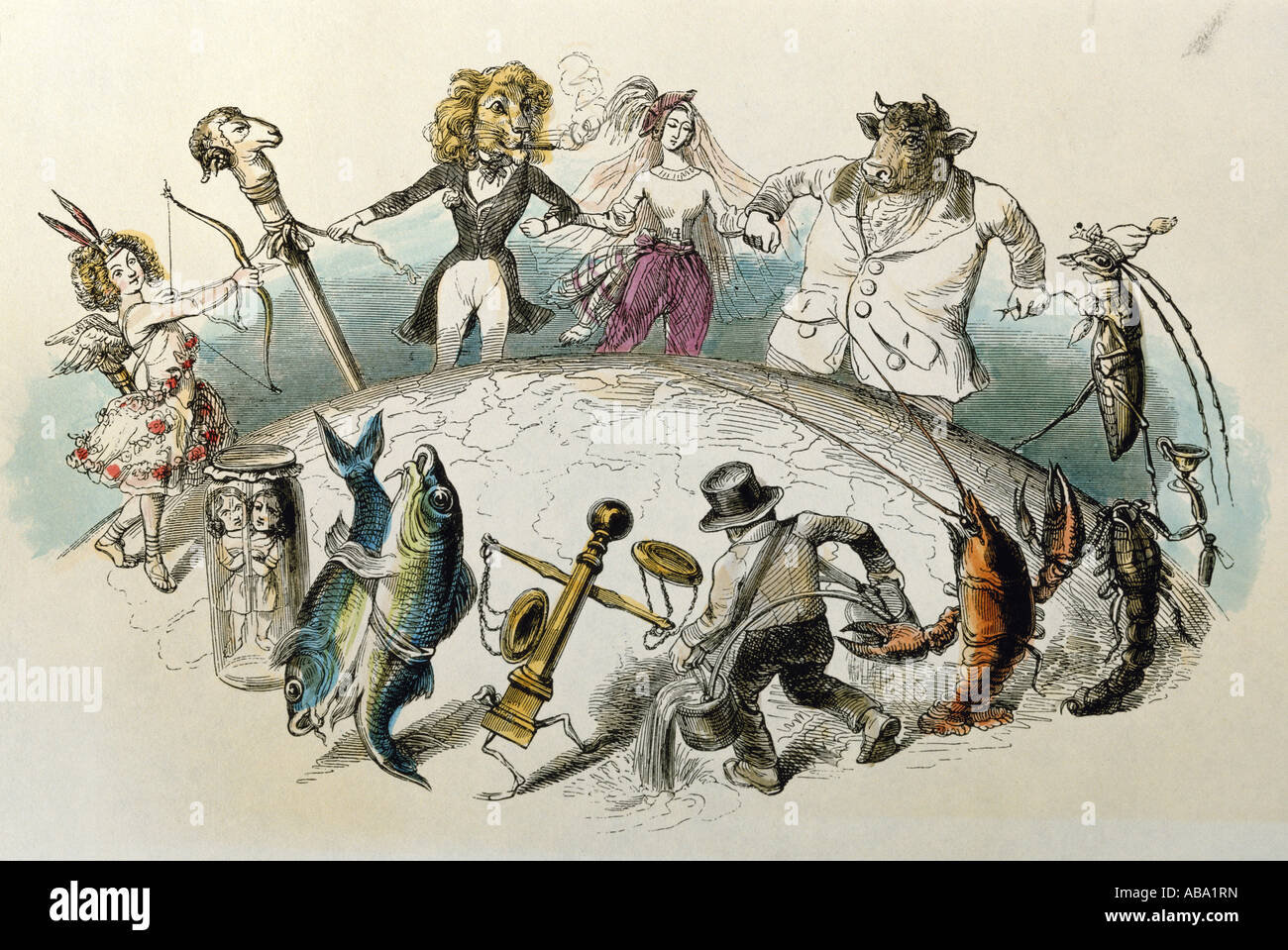 astrology, zodiac signs, caricature, 'The zodiac in a round dance around the world', coloured engraving - Stock Image
