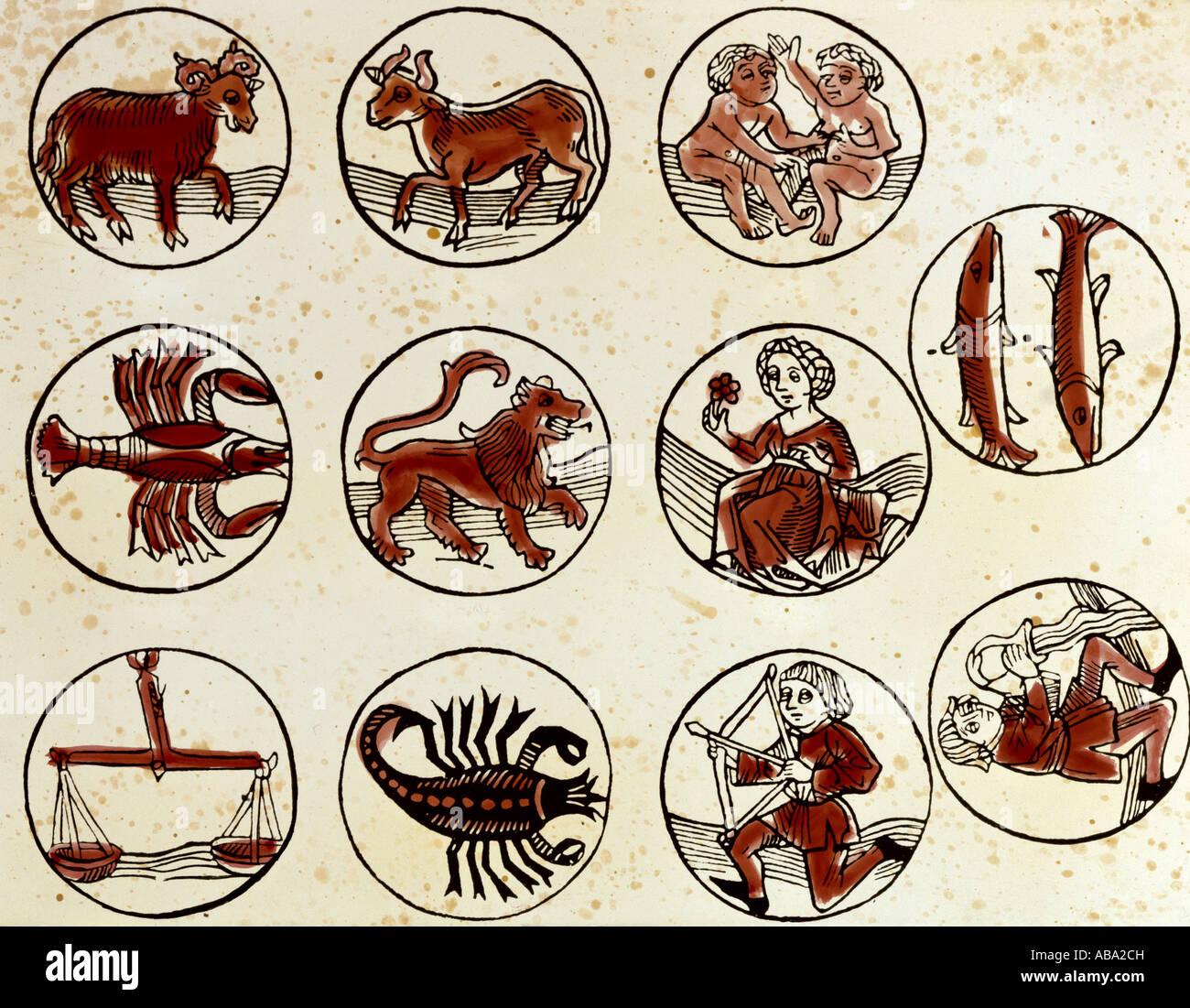 astrology, zodiac signs, coloured woodcut, 'Teutsch Kalender', printed by  H. Schäffler, Germany, 1498, - Stock Image
