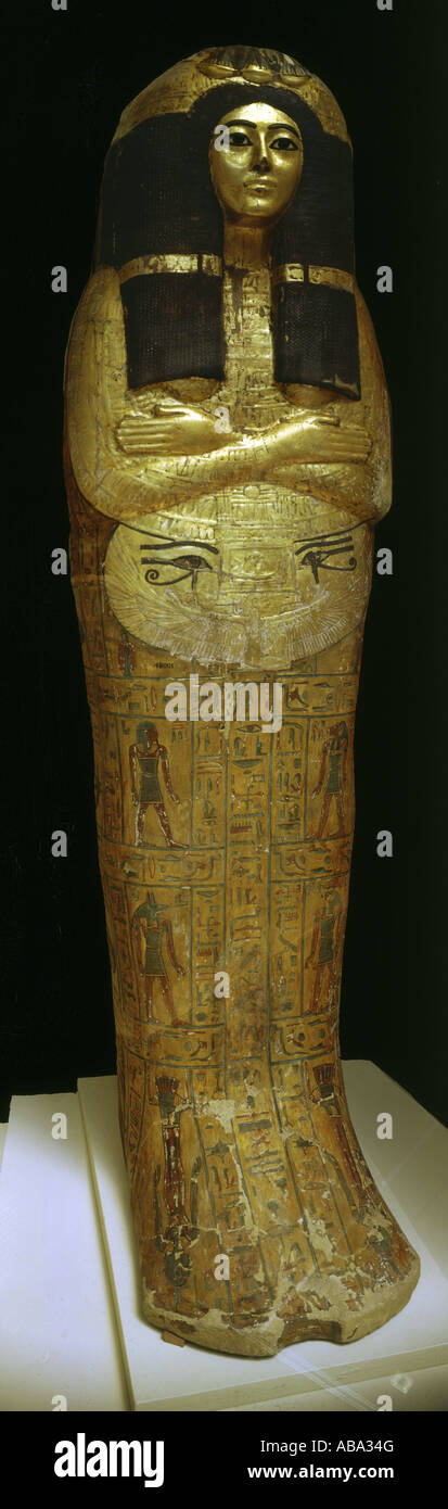 geography/travel, Egypt, sarcophagus of a priestess, guilded wood, circa 1200 BC, 21st dynasty, British Museum, - Stock Image