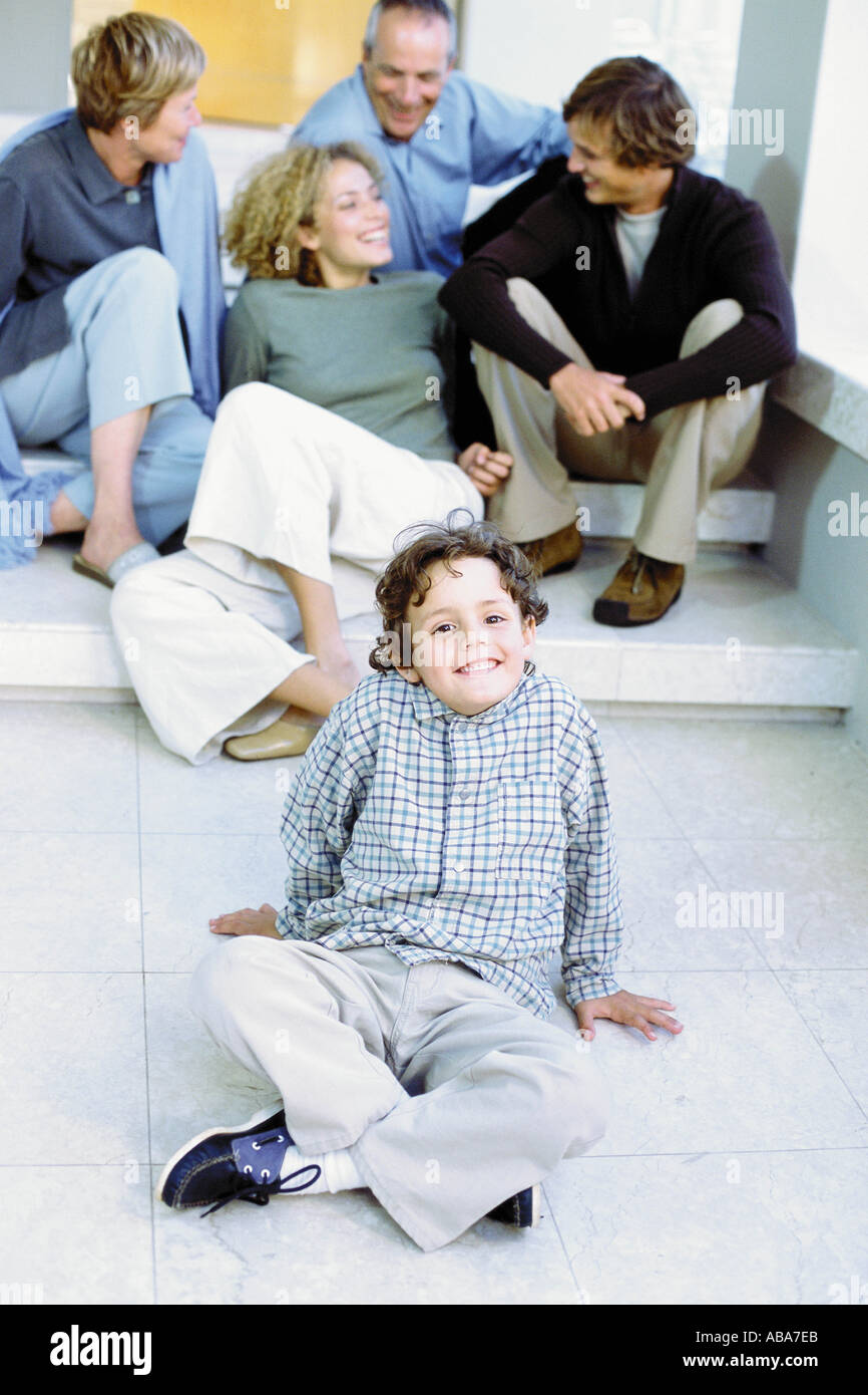 Boy with parents and grandparents - Stock Image