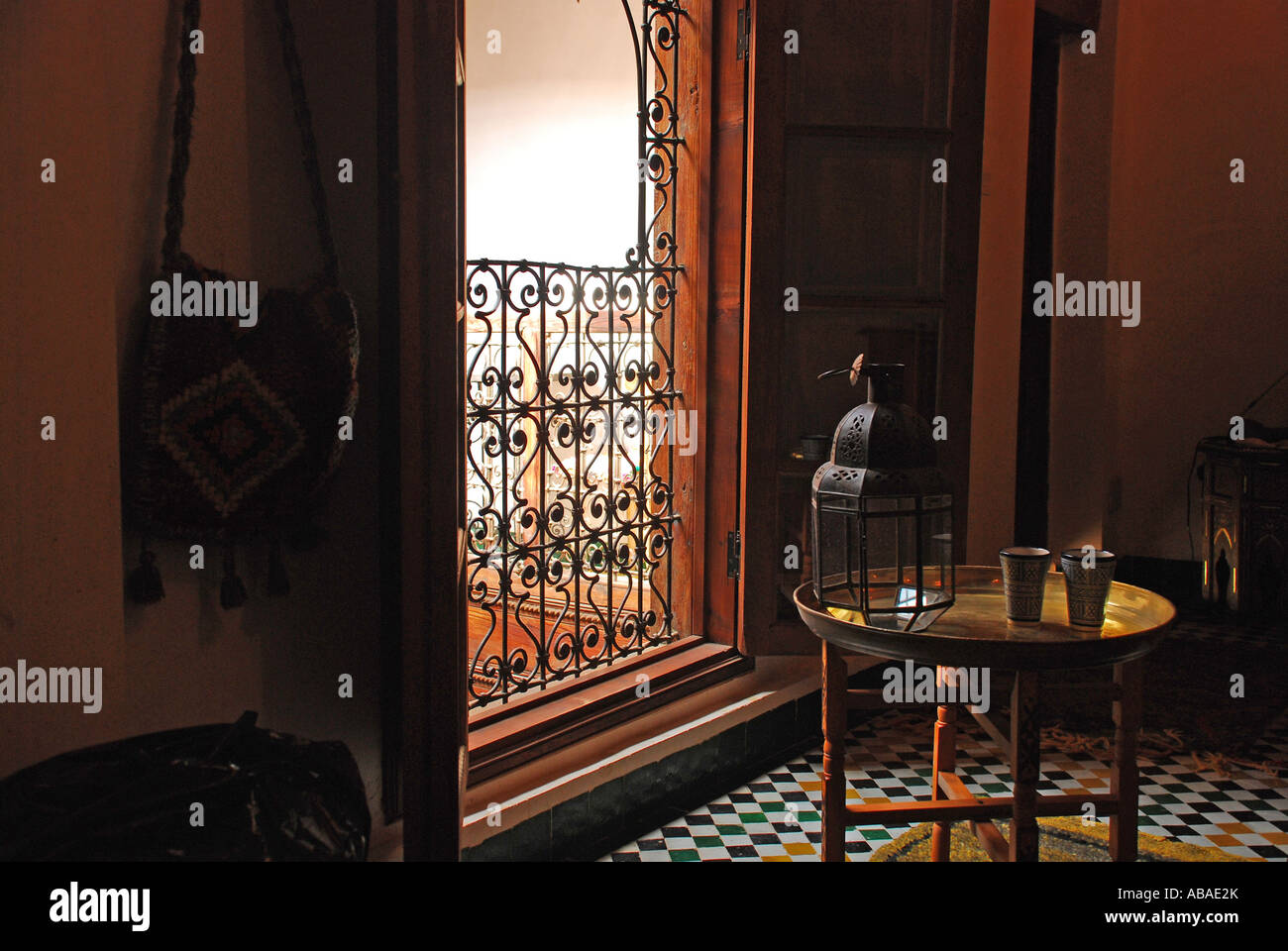 Room in traditional Moroccan house Fez Morocco Innenraum traditionelles marokkanisches Haus Fez Marokko Stock Photo
