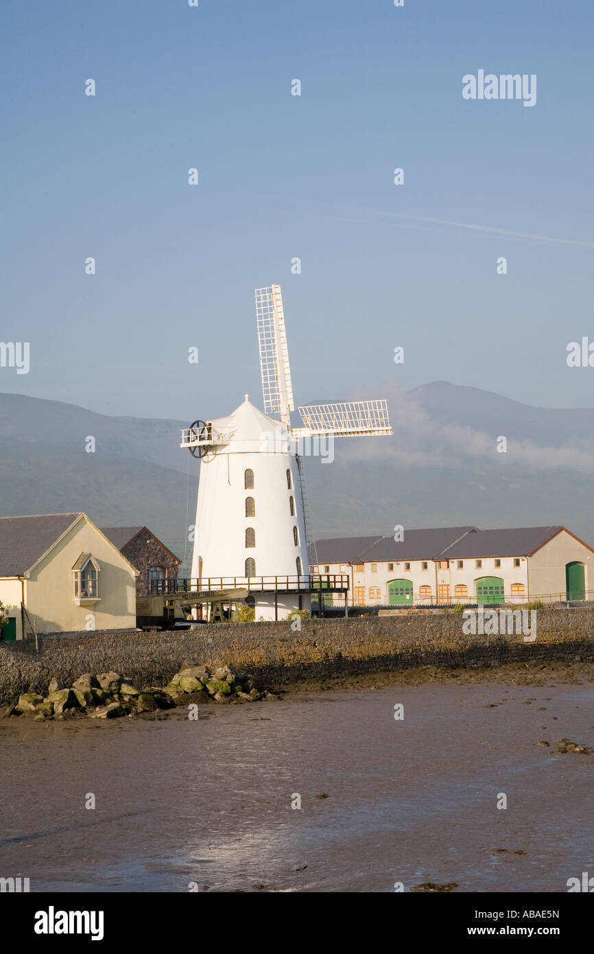 White windmill on the river bank at Tralee County Kerry, Ireland. - Stock Image