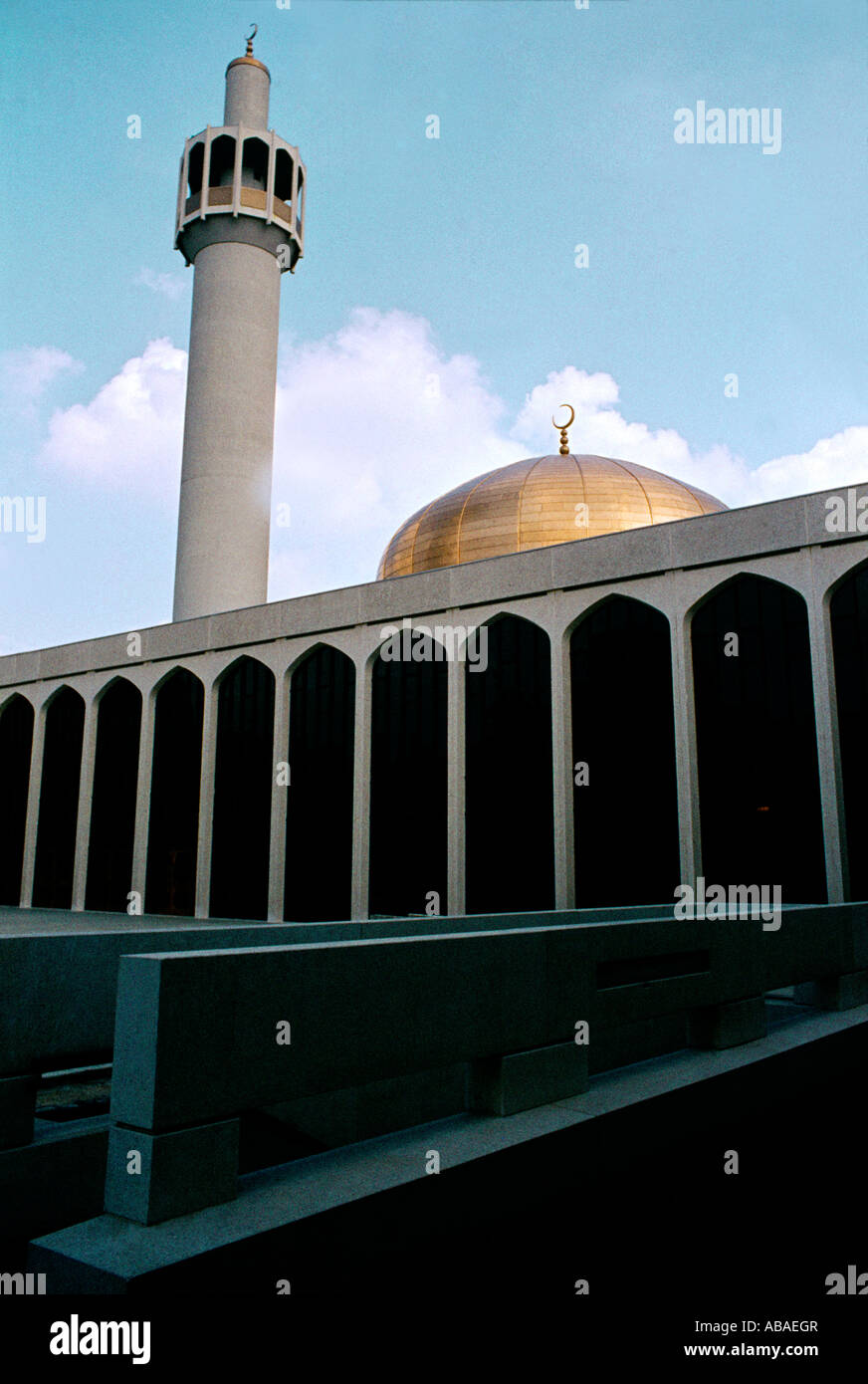 London England Regents Park Mosque The Central Mosque Dome and Minaret Stock Photo