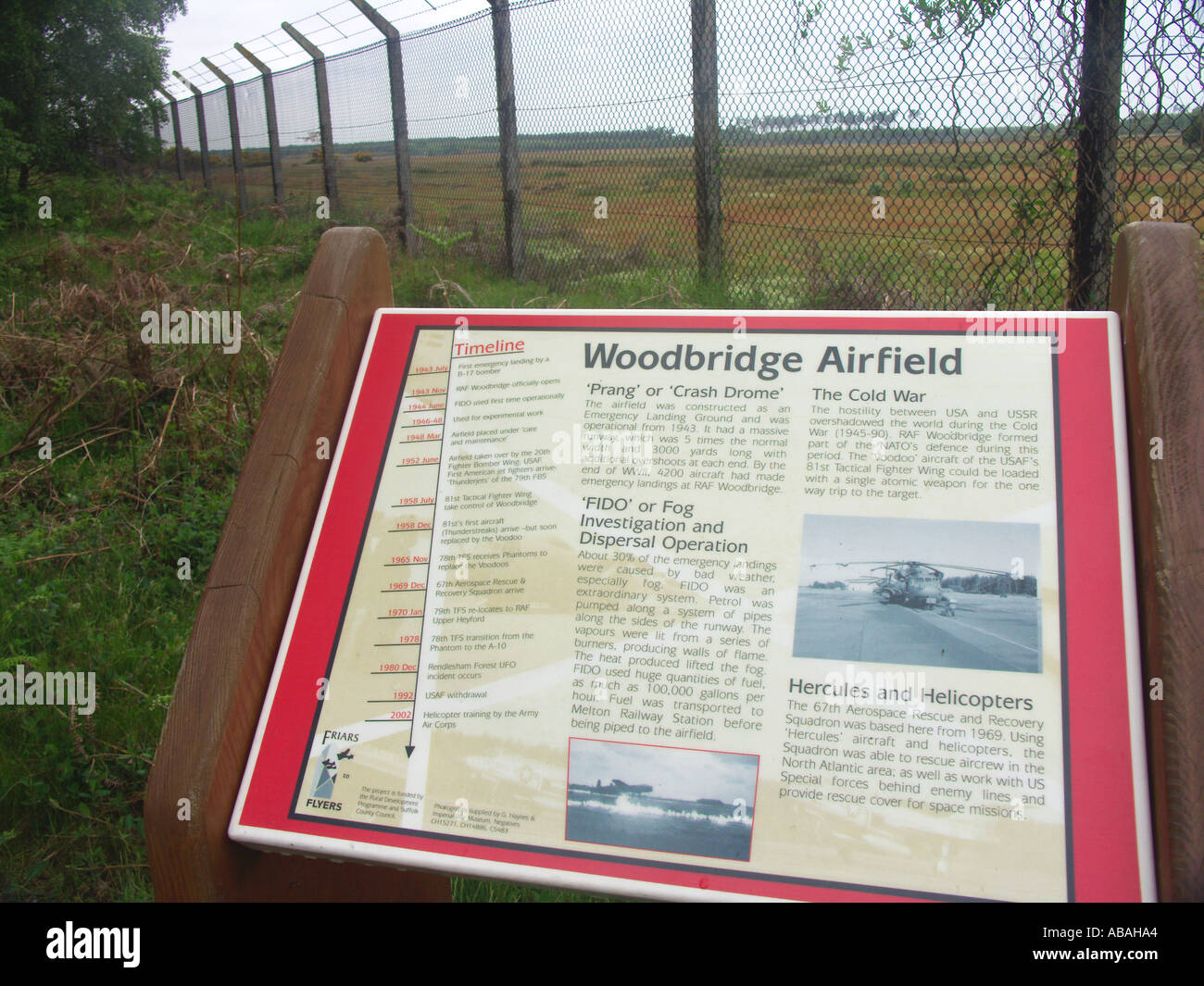 Information board for RAF Woodbridge airfield Suffolk England - Stock Image